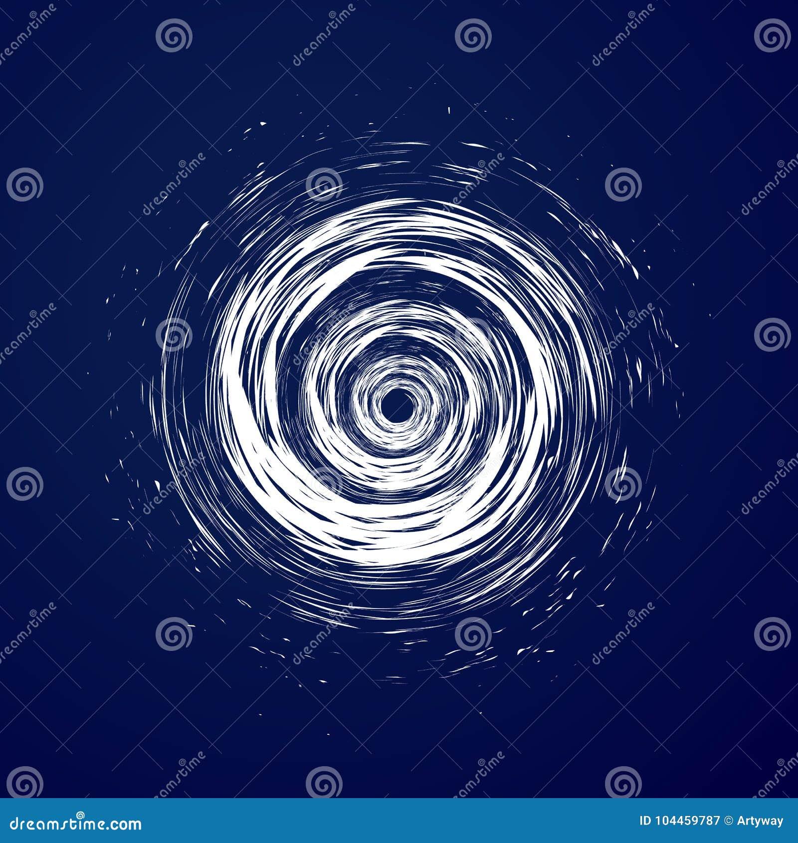 Huge hurricane, tornado, typhoon, white swirl clouds, twister on blue sea background top view. Danger cyclone vector