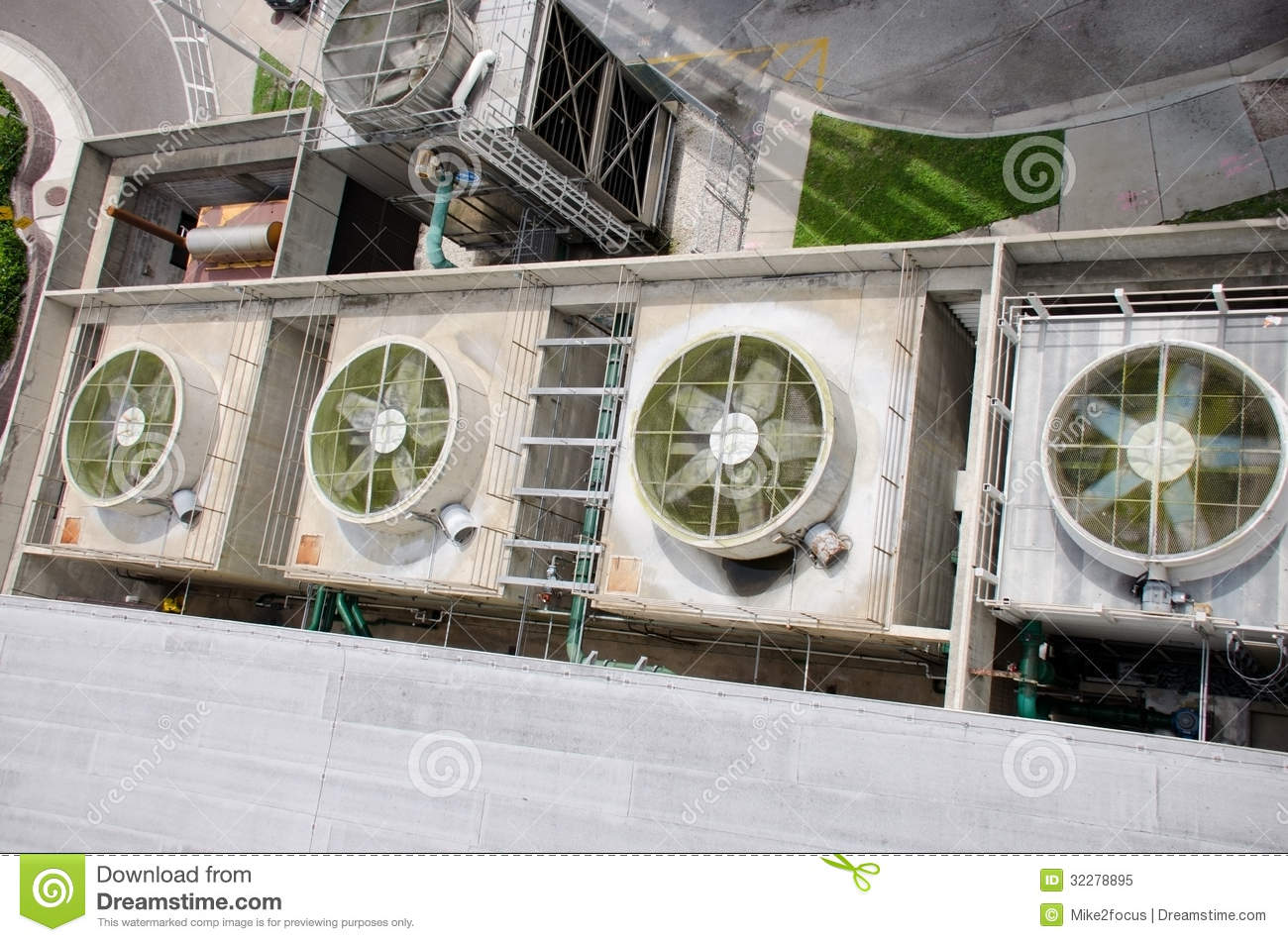 Huge Industrial Fans On Building Air Conditioner Stock
