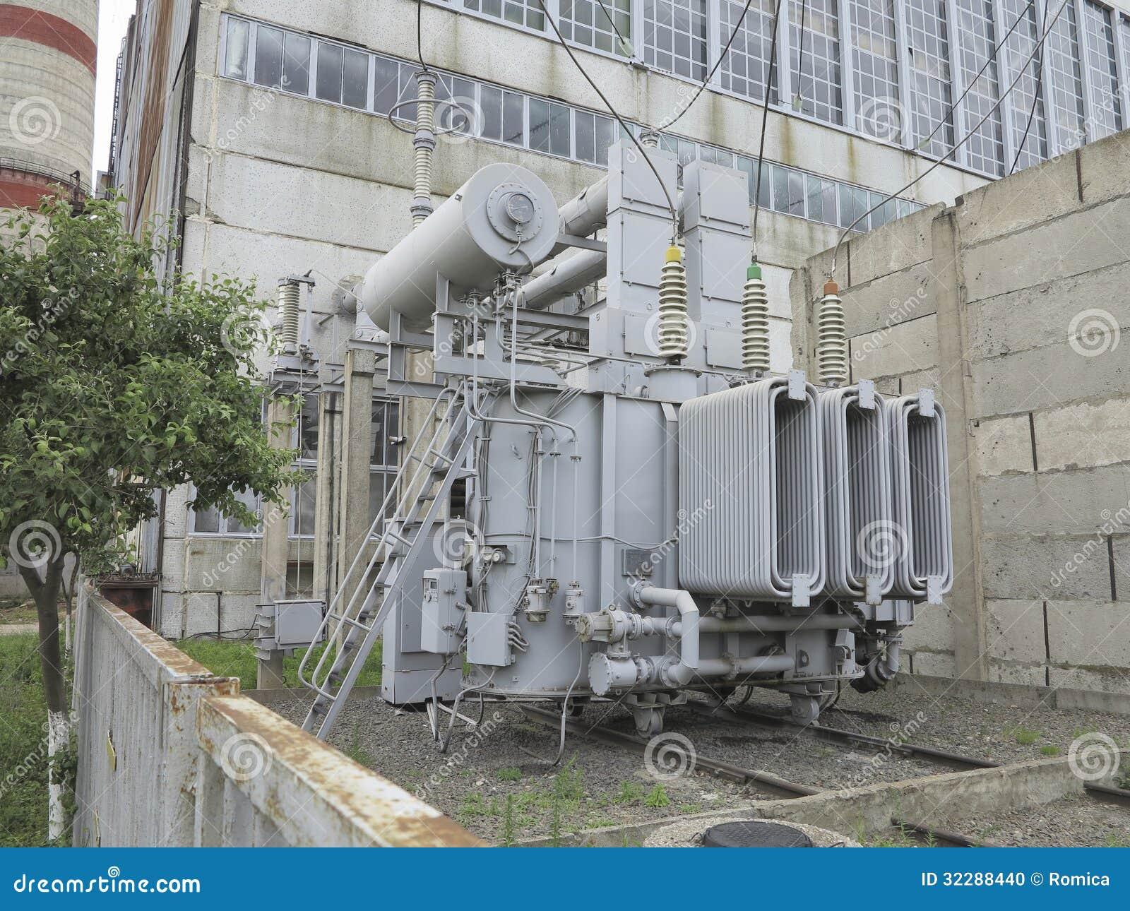 Stock Photo Huge Industrial High Voltage Substation Power Transformer Rai Rails Plant Image32288440