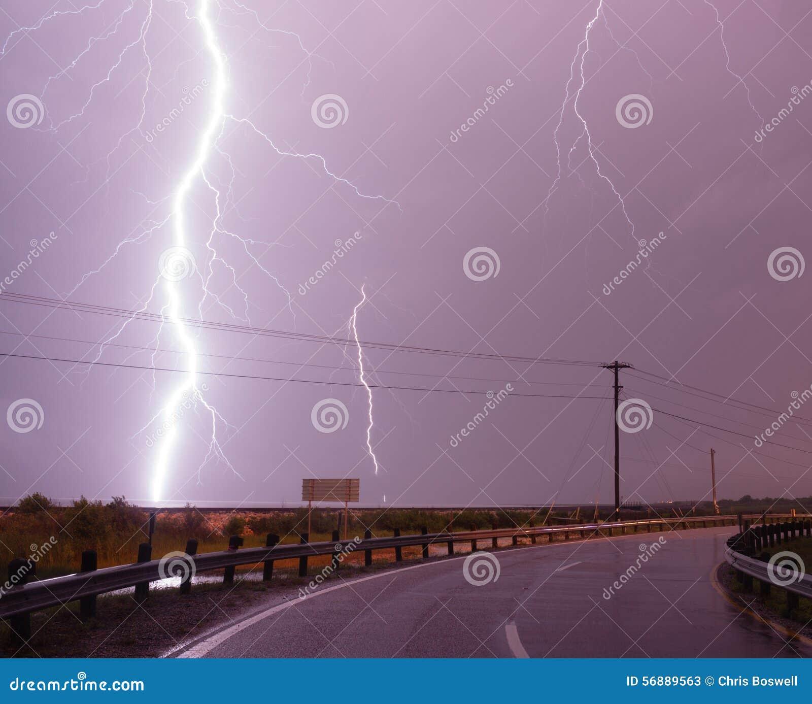 Huge Lightning Bolt Strike Storm Chaser Gulf of Mexico