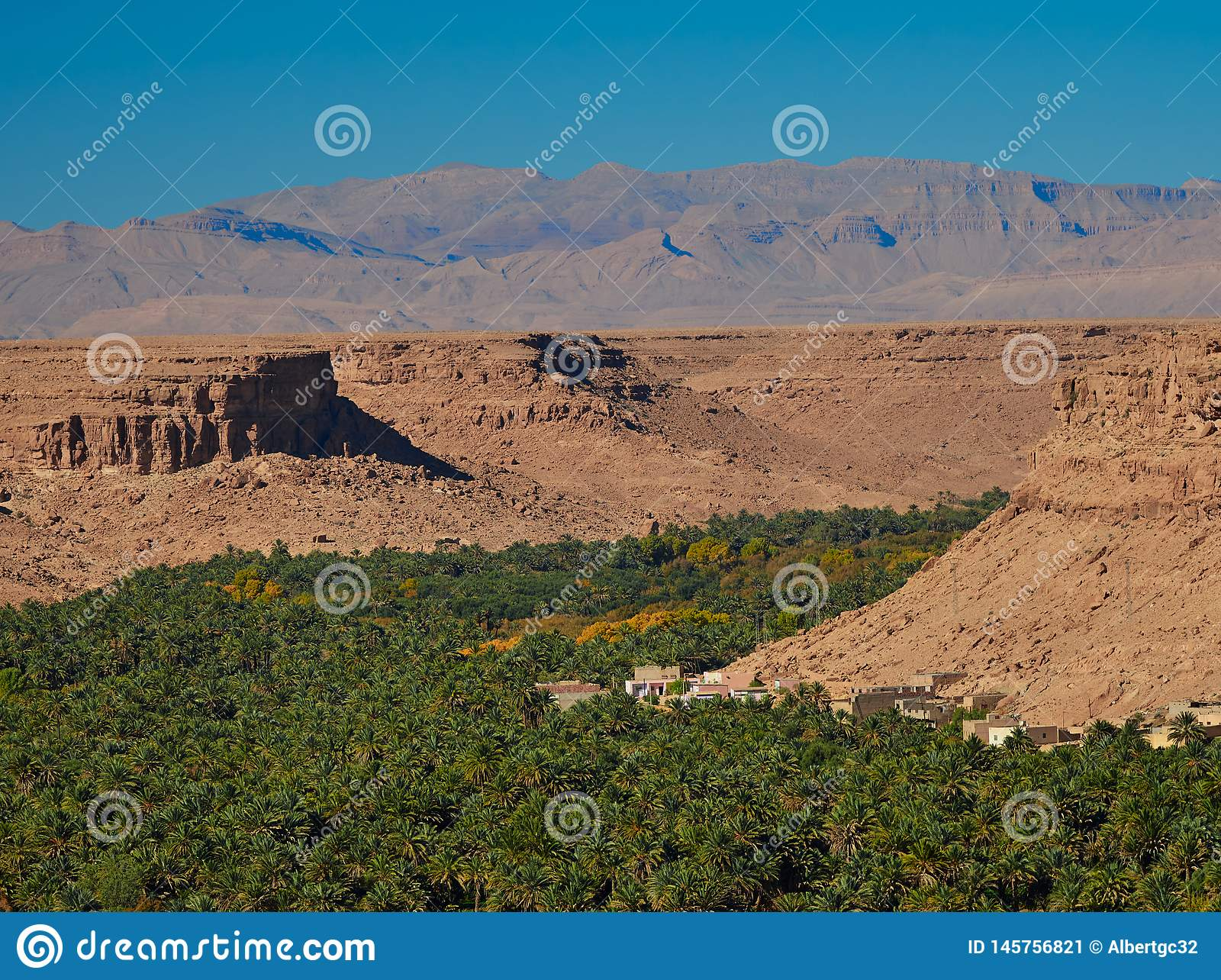 Huge palm grove in Ziz valley, Morocco. Aerial view