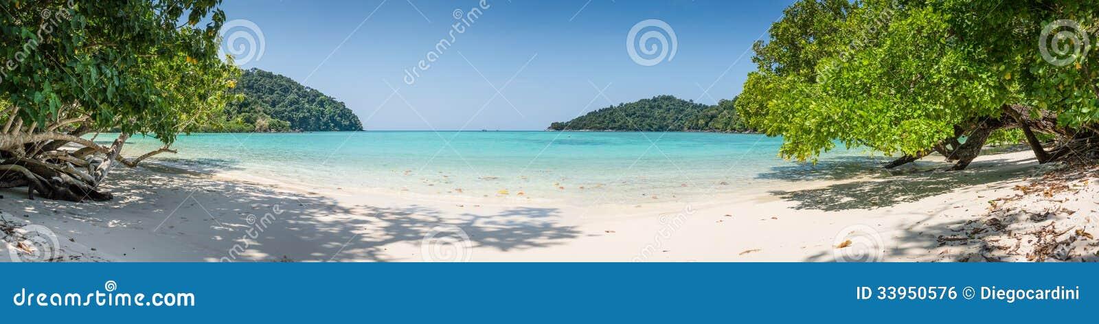 Huge Panorama Wild Tropical Beach. Turuoise Sea at Surin Island Marine Park. Thailand.