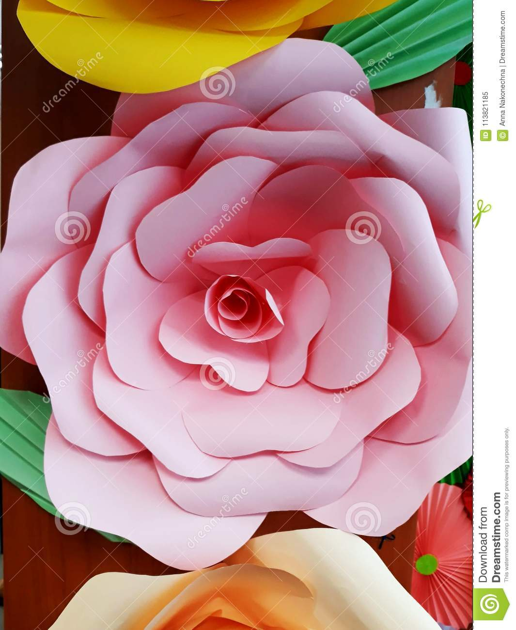 Huge Paper Flowers Of Multi Colored Paper Stock Image Image Of