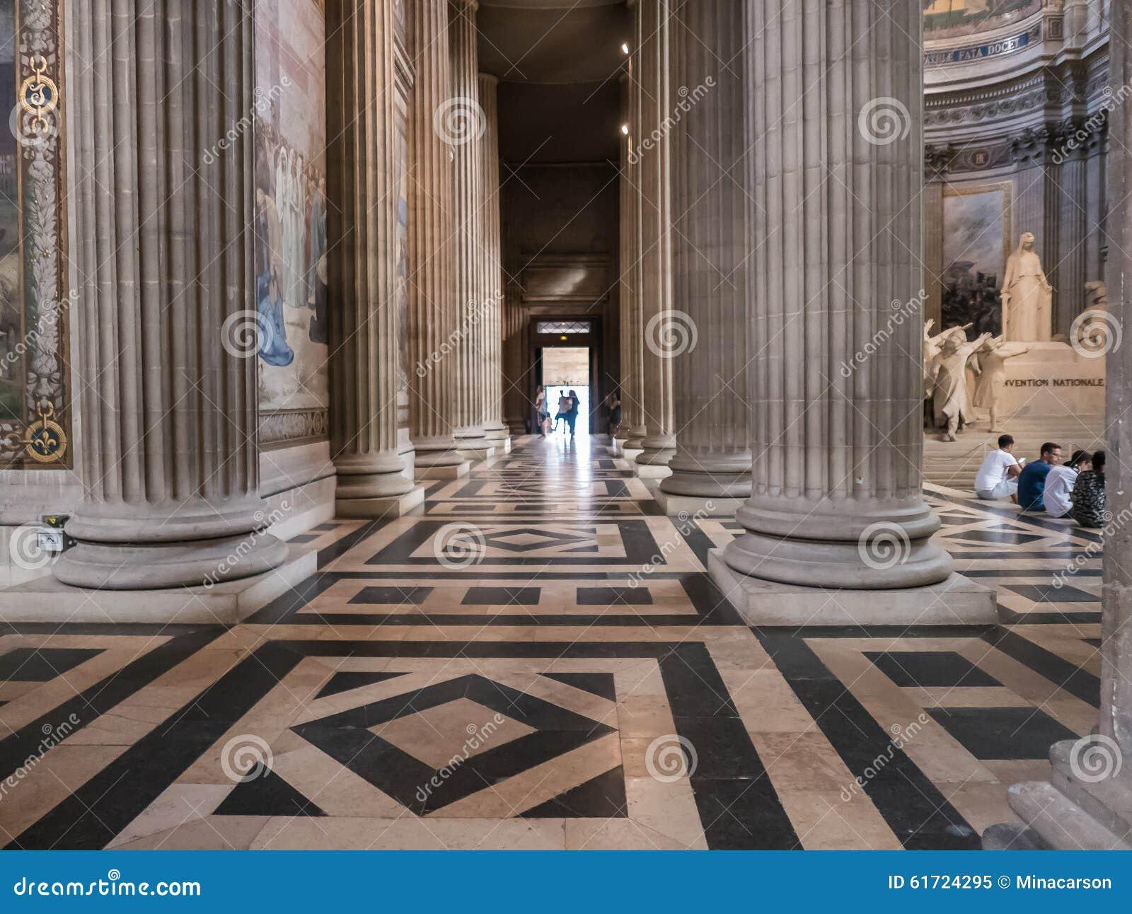 Huge pillars and tiled floor inside paris france for Floor pillars