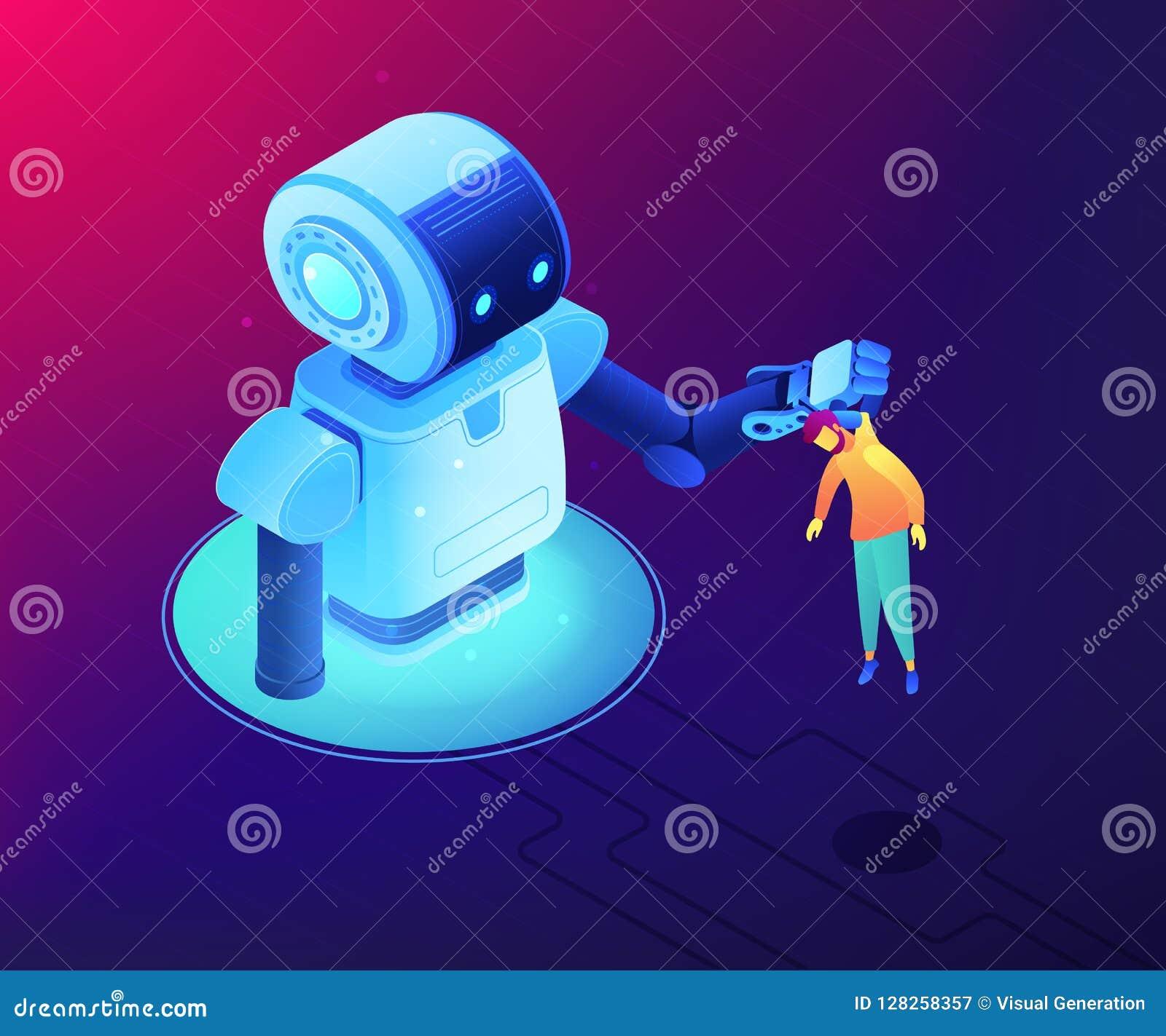 Human-robot Interaction Concept Vector Isometric Illustration  Stock