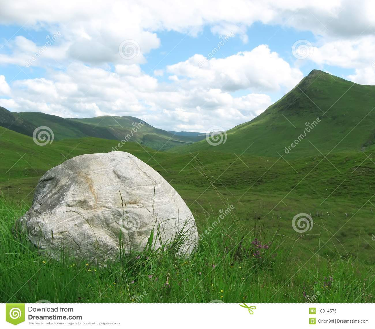 Huge rock in scottisch landscape