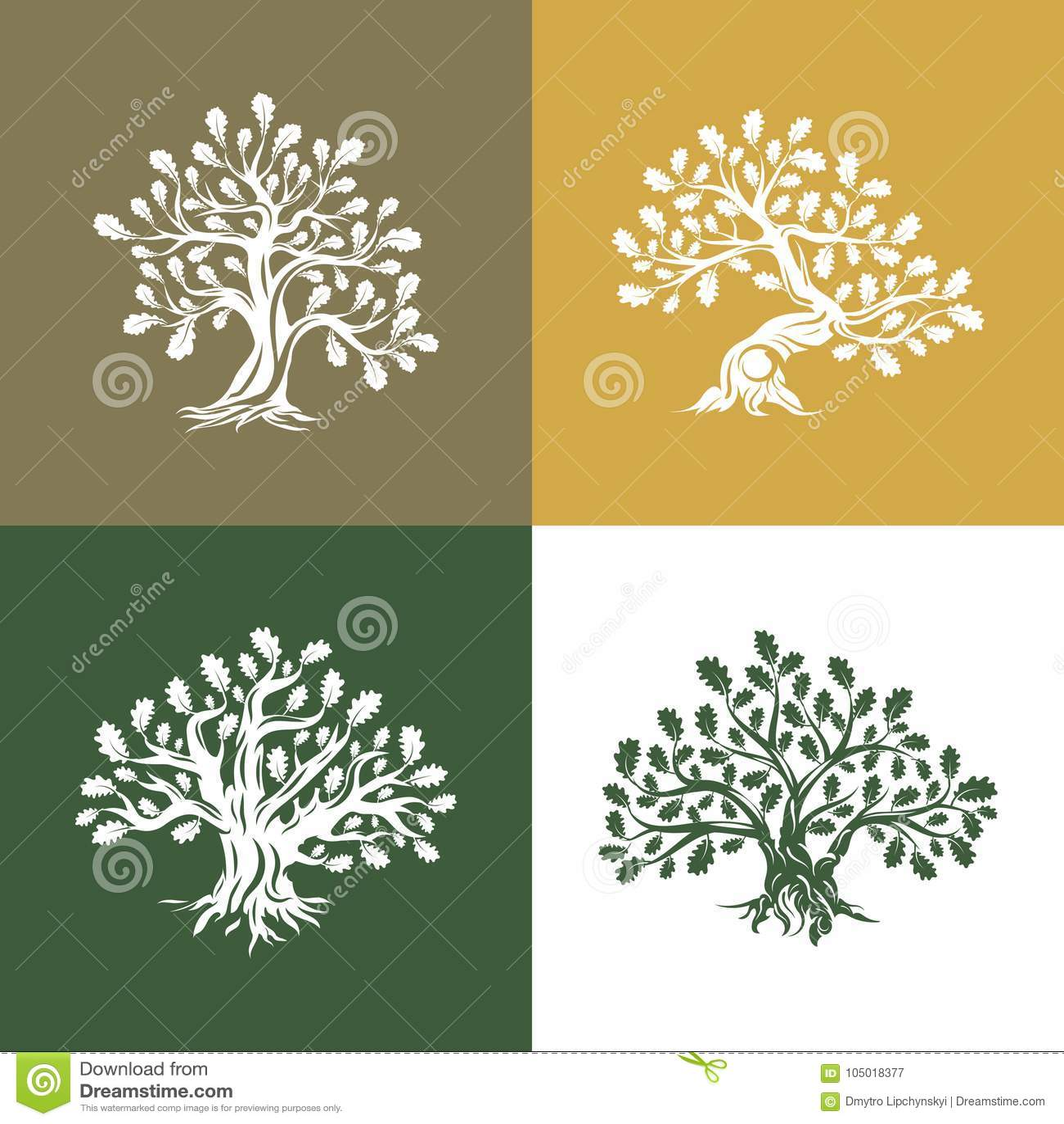 Huge and sacred oak tree silhouette logo on background