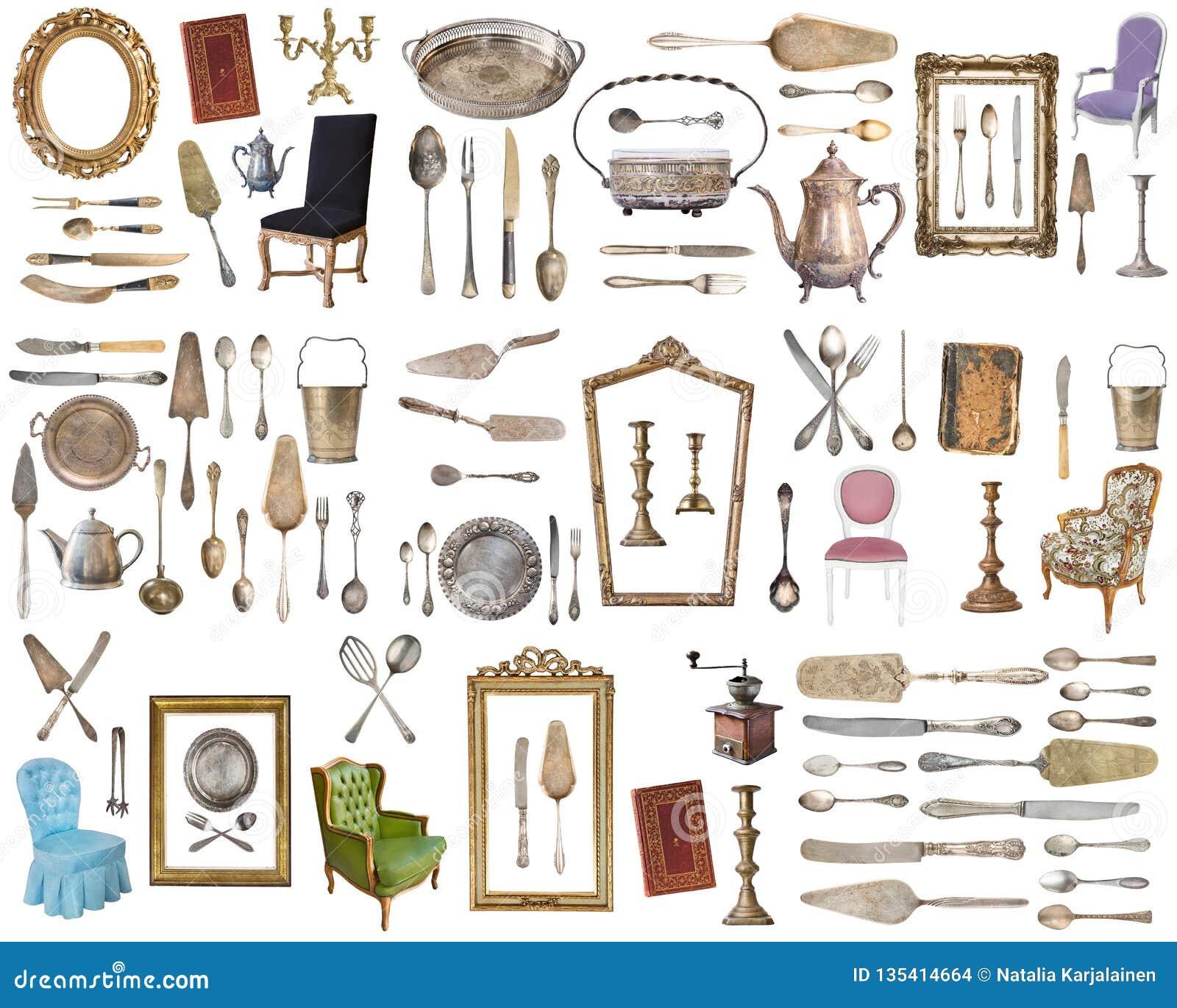 Huge Set Of Antique Items Vintage Household Items, Silverware