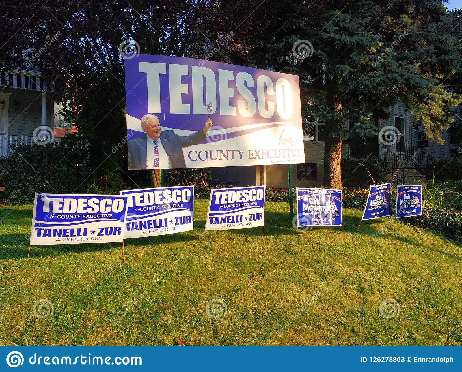 Yard Signs, Lawn Signs Endorsing American Political Candidates, Rutherford, NJ, USA