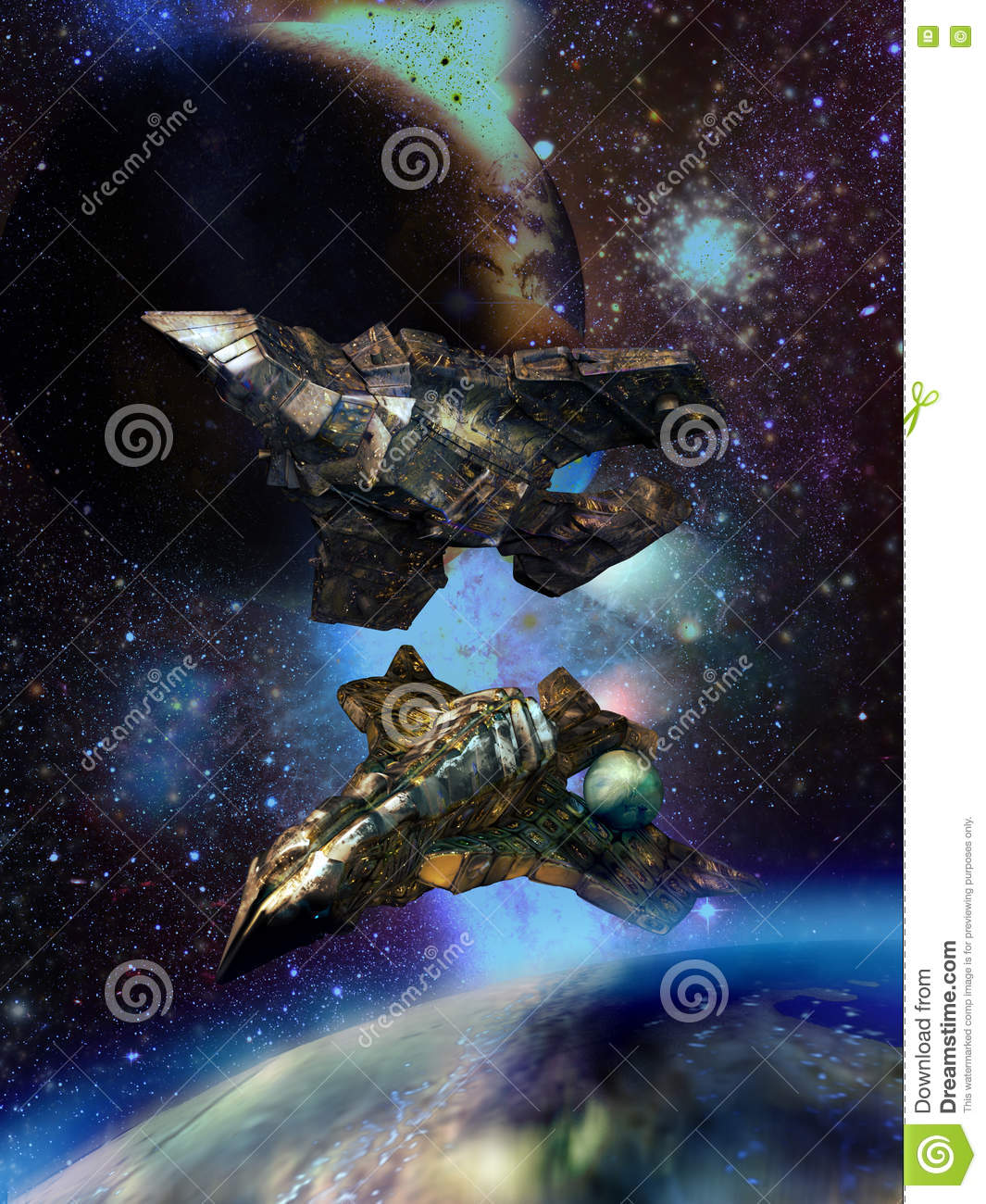 Huge spaceships close to alien planets