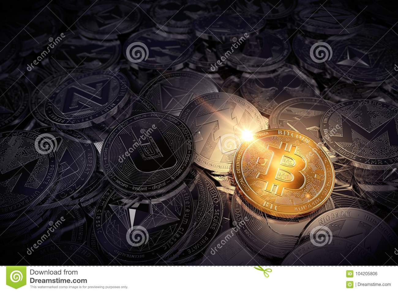 Huge stack of physical cryptocurrencies with Bitcoin on the front as the leader of new virtual money