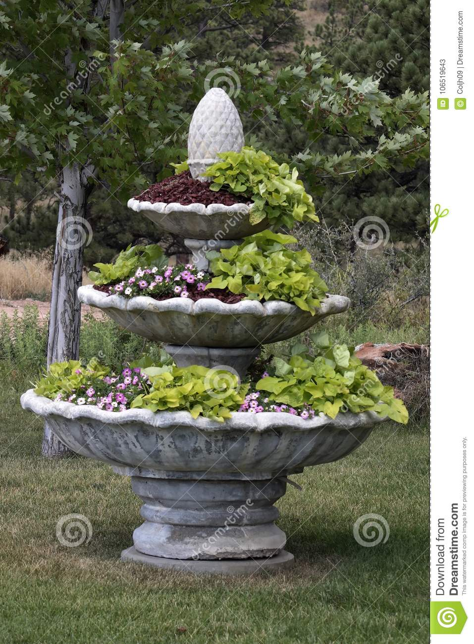 Download Huge Tiered Garden Planter Stock Image. Image Of Three   106519643
