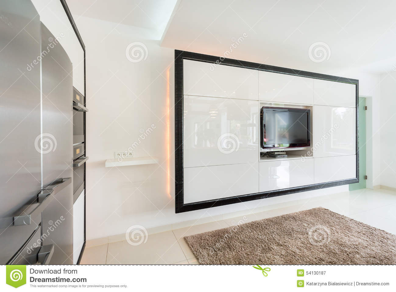 Huge TV On The Wall In Living Room Stock Image - Image of lifestyle ...