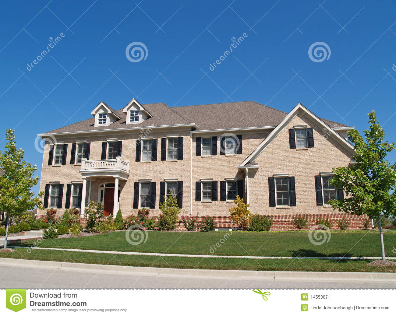 Huge Two Story Brick Home Stock Image Image 14553071