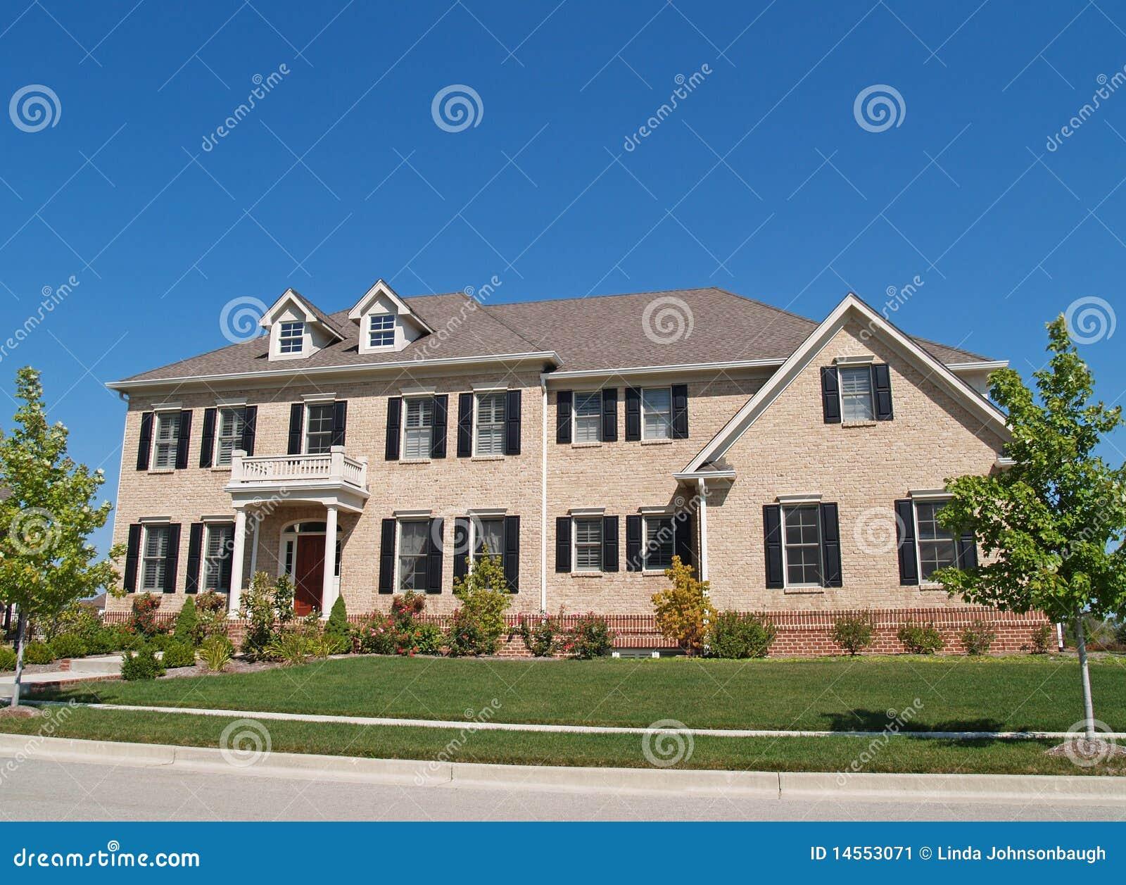 Huge Two Story Brick Home Stock Image Image 14553071