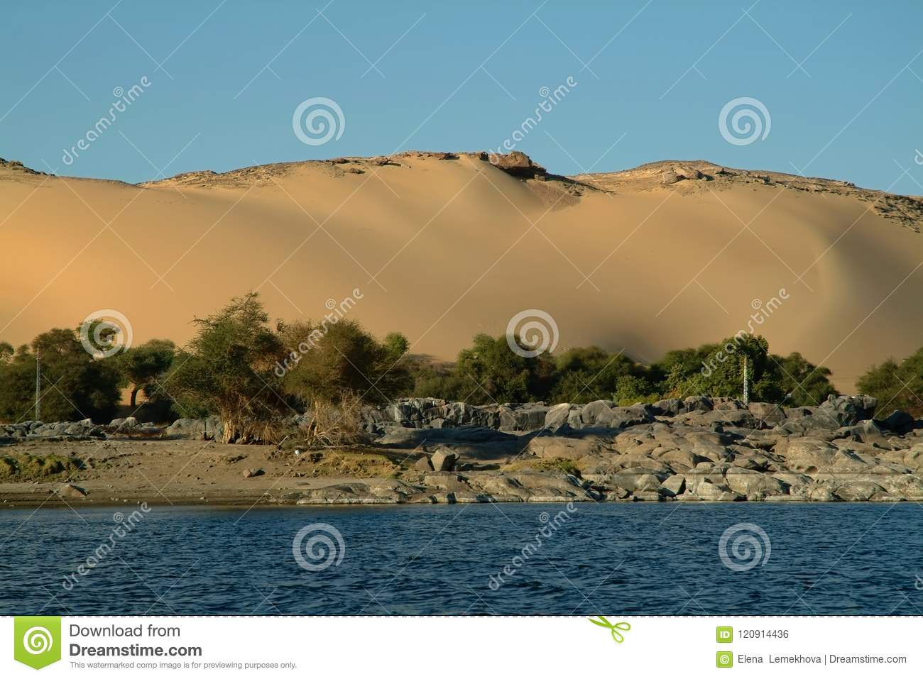 Huge Velvet Sand Dune On The Island Of Elephantine Without People
