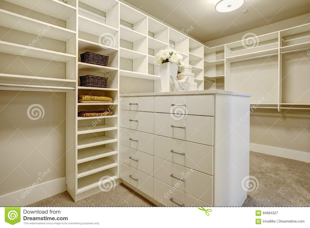 Download Huge Walk In Closet With Shelves, Drawers And Shoe Racks. Stock  Image