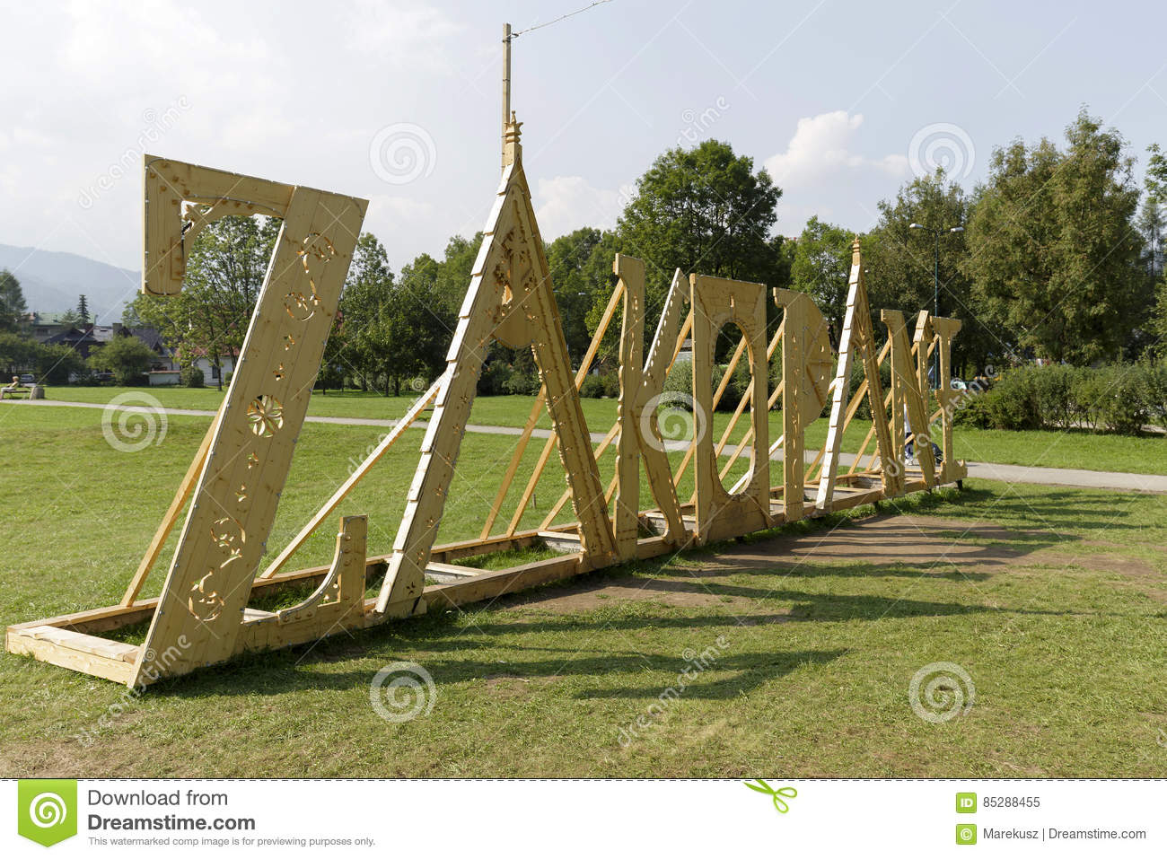 Huge And Wooden Lettering Creates Name Of Zakopane Editorial Image
