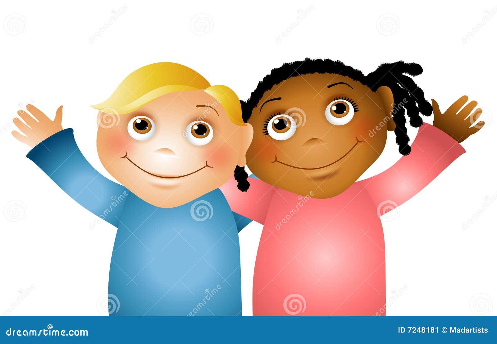hugging children friends 2 stock illustration image of