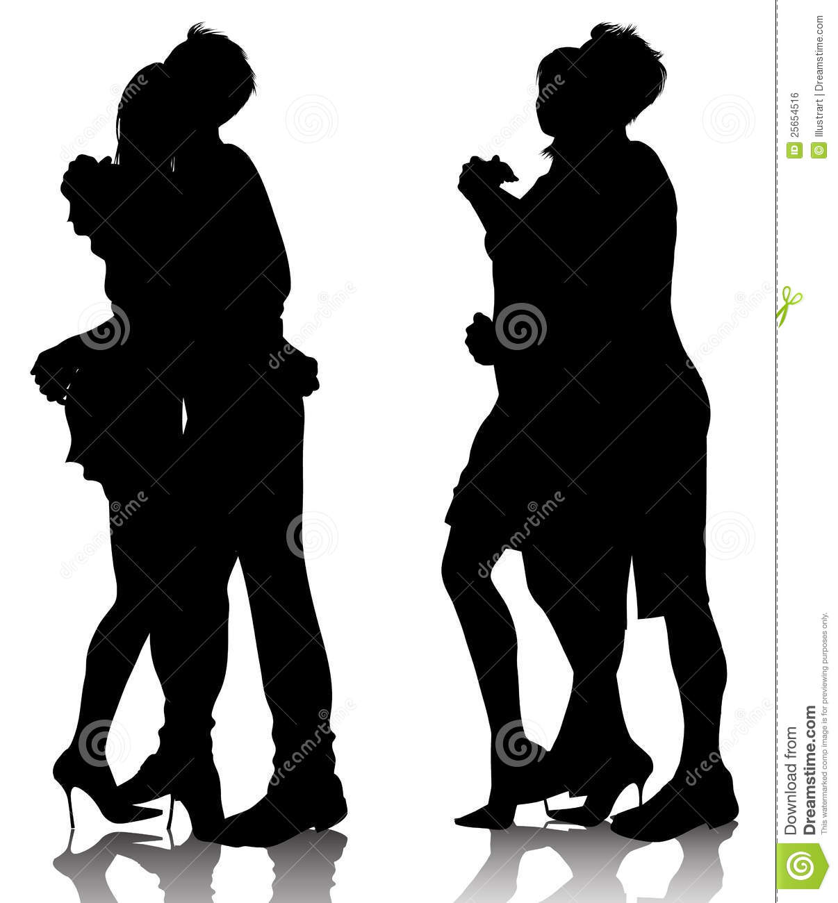 Hugging couple silhouettes vector illustration Couple Silhouette Hugging