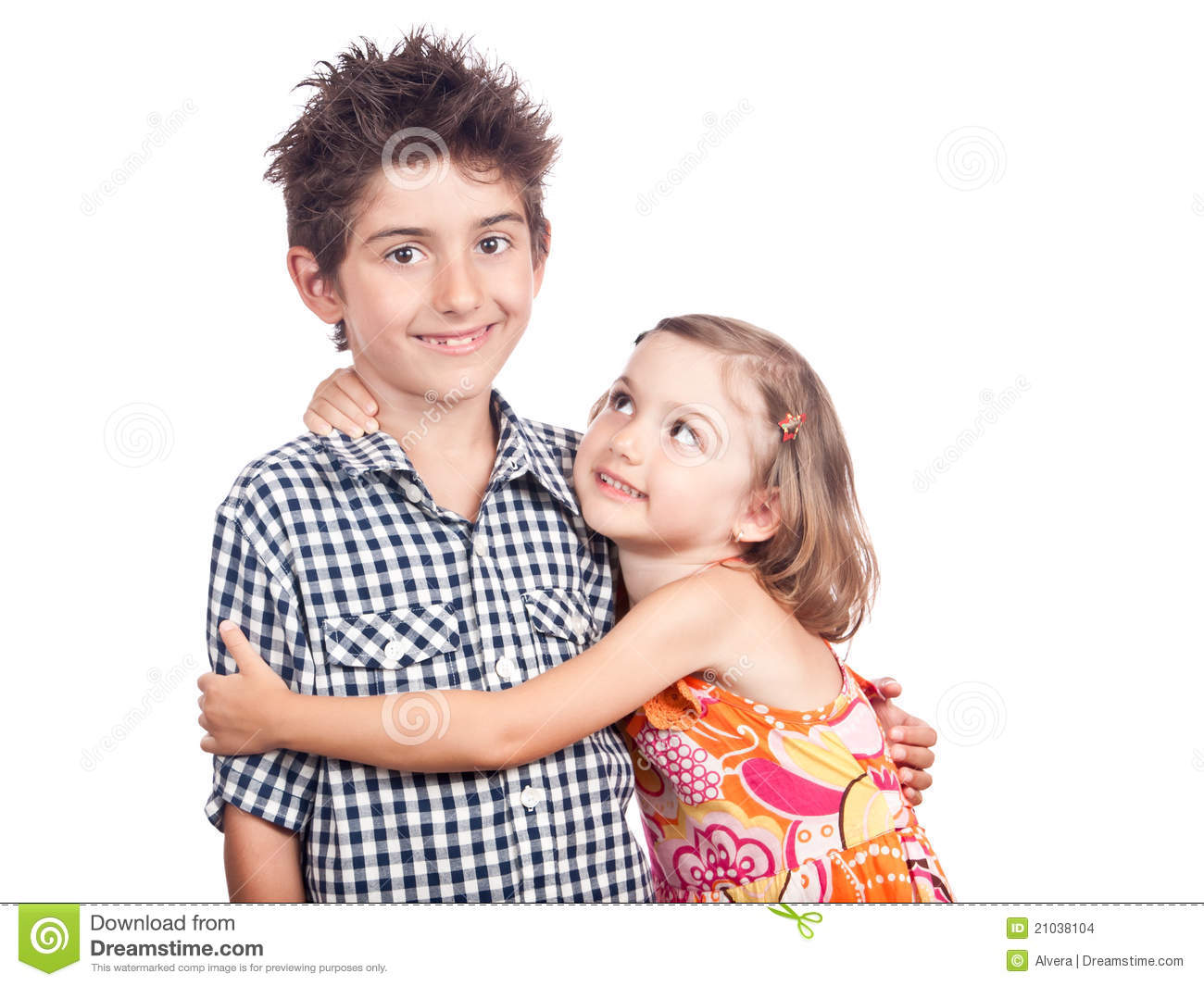 Guy and girl best friends kids hugging kids isolated on white