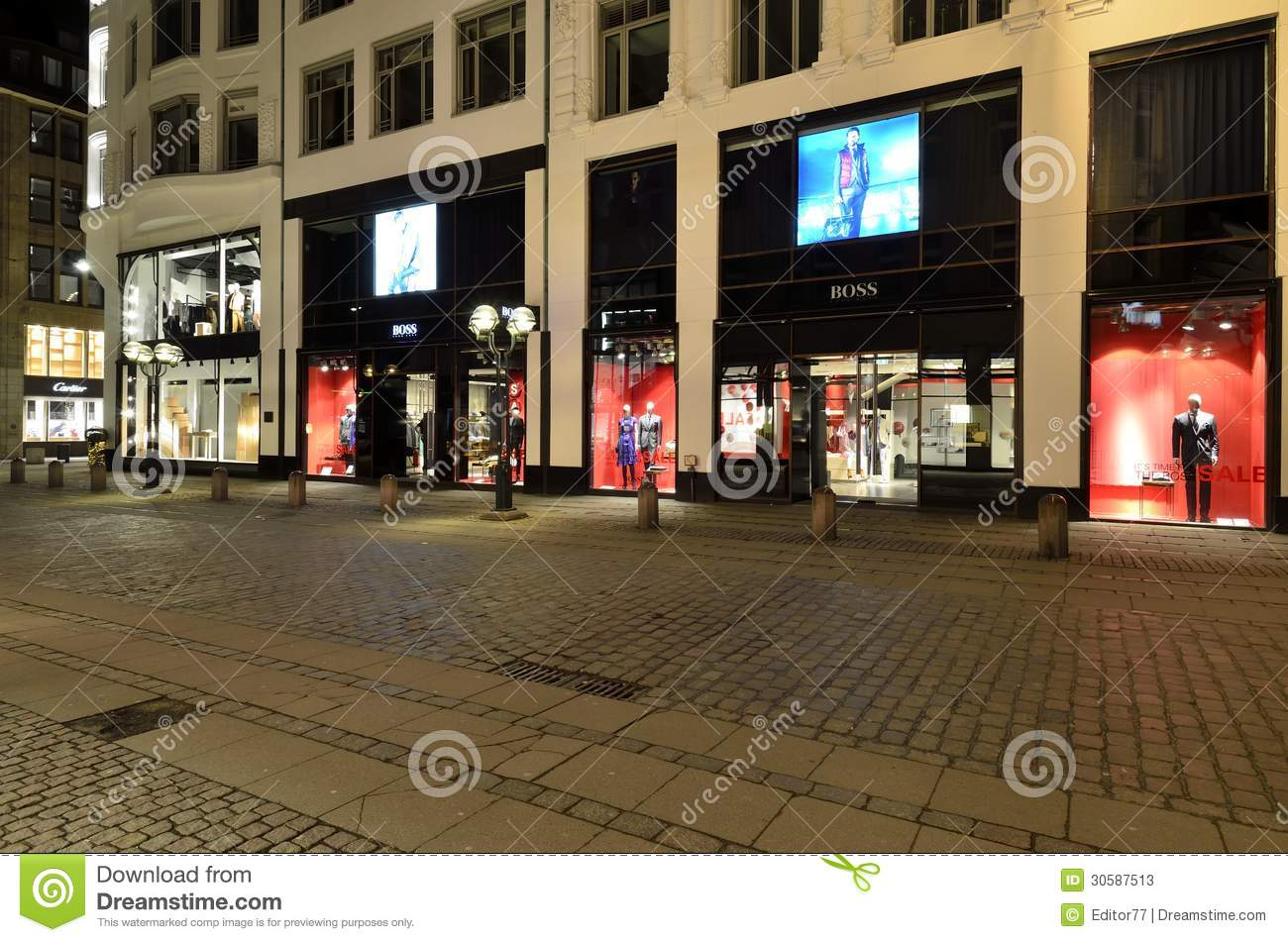 shopping street in hamburg germany editorial stock photo image of luxury shopping 30587513. Black Bedroom Furniture Sets. Home Design Ideas