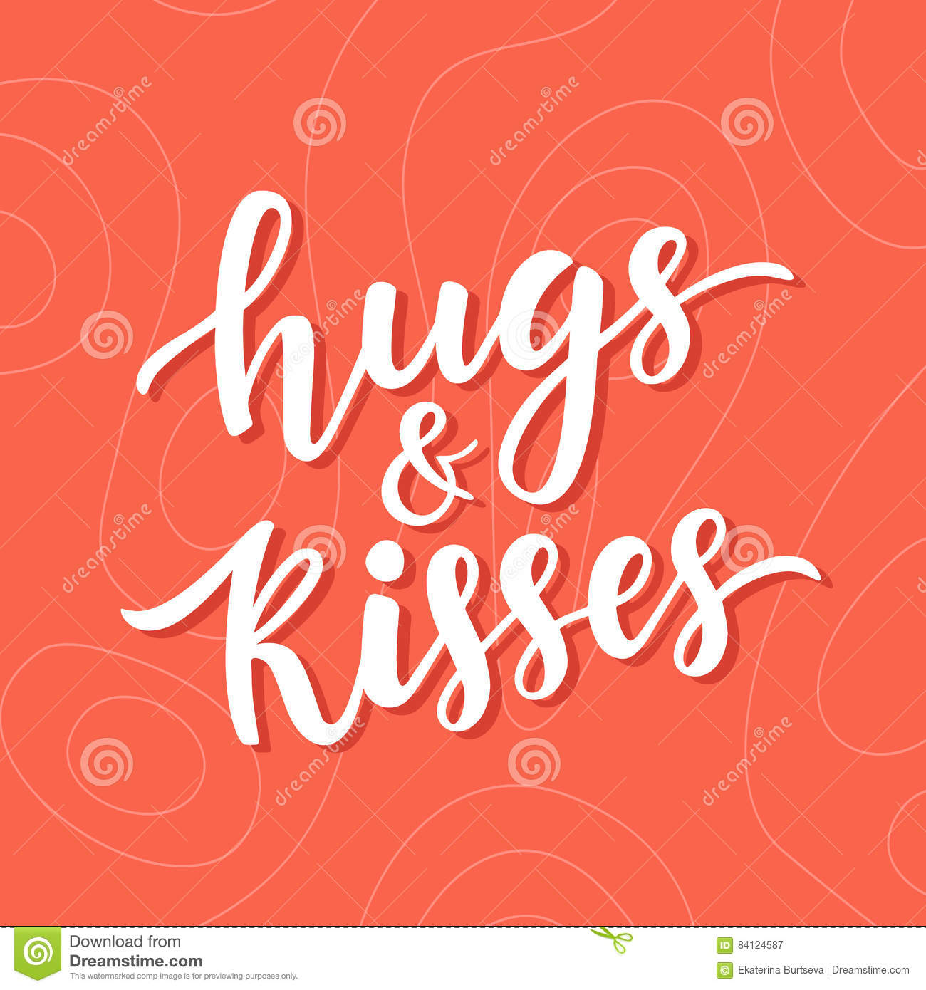 Hugs And Kisses Hand Drawn Brush Lettering Stock Image - Image of ...