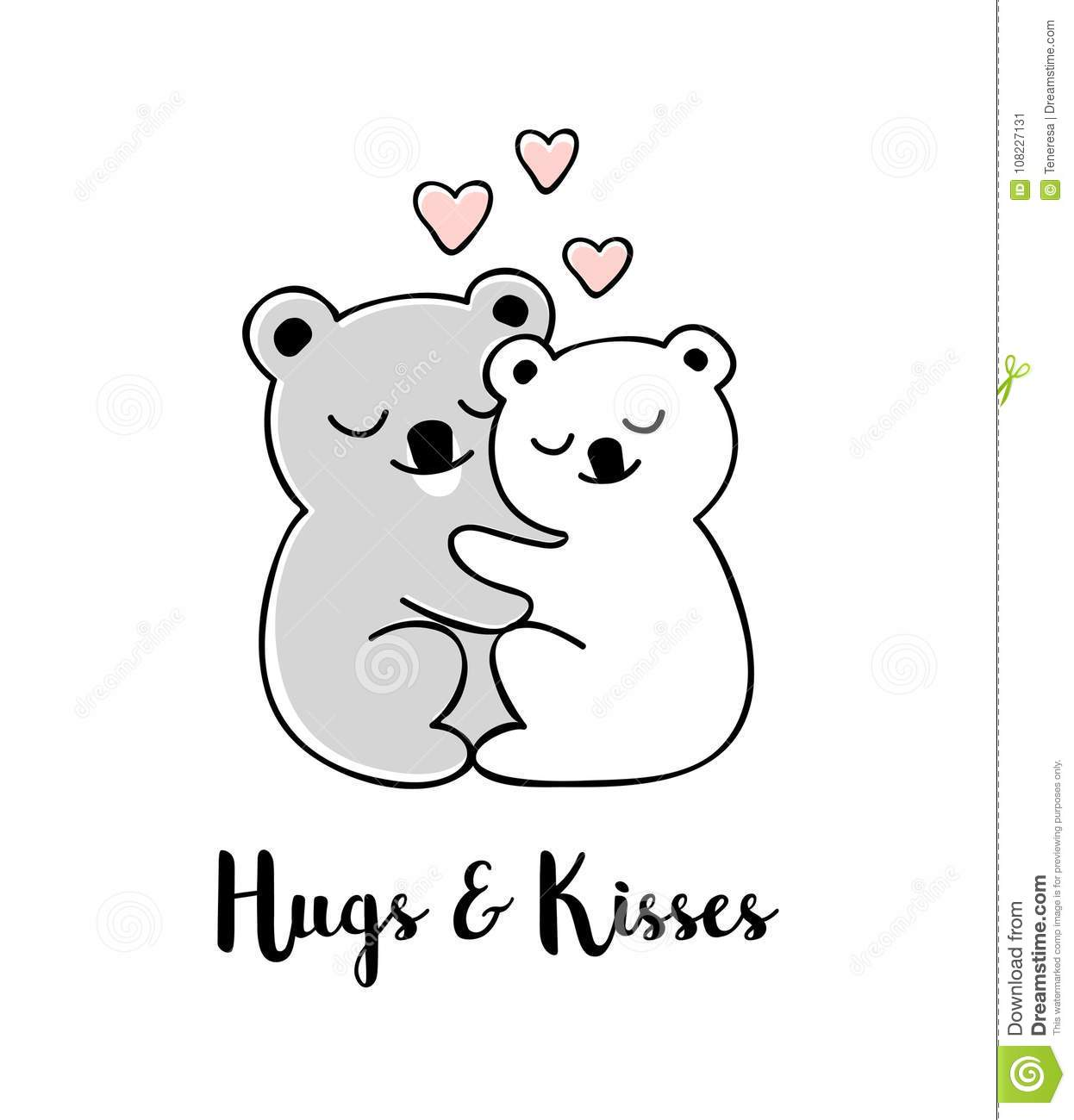 Hugs and kisses hand drawn greeting card with valentines day quote download hugs and kisses hand drawn greeting card with valentines day quote stock vector m4hsunfo