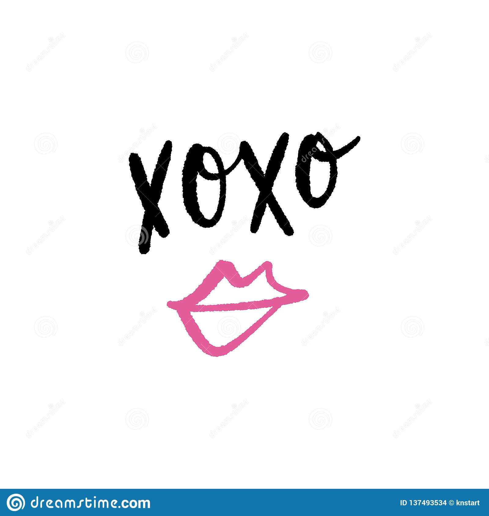 Hugs And Kisses Lettering Text Vector Clipart Isolated On White