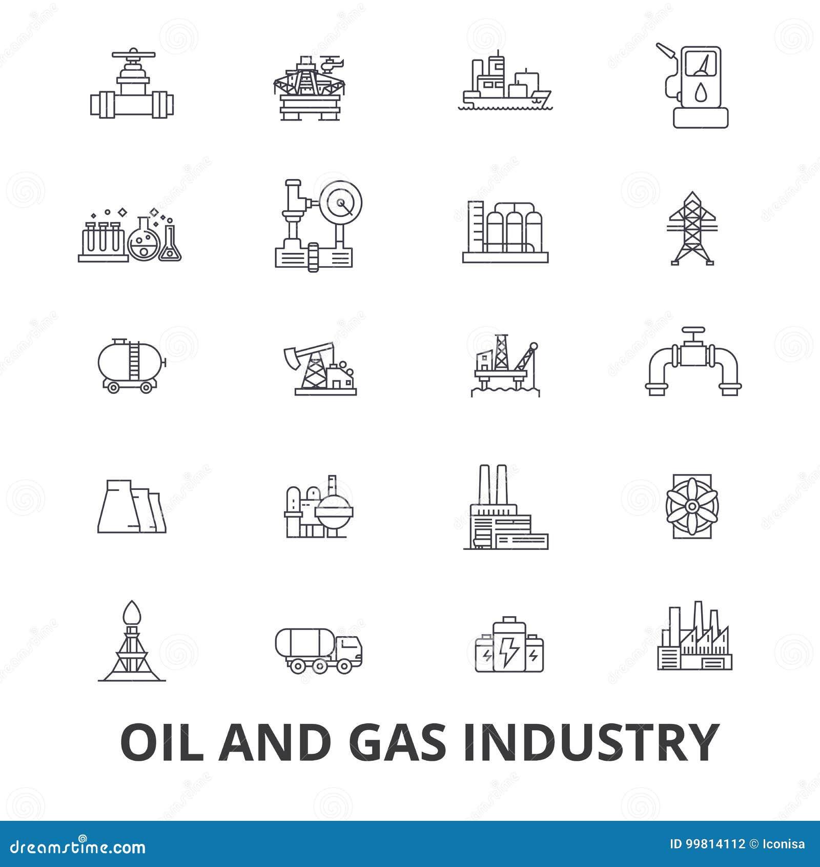 Huile et industrie du gaz, installation, plate-forme, exploration, raffinerie, énergie, ligne industrielle icônes Courses Editabl