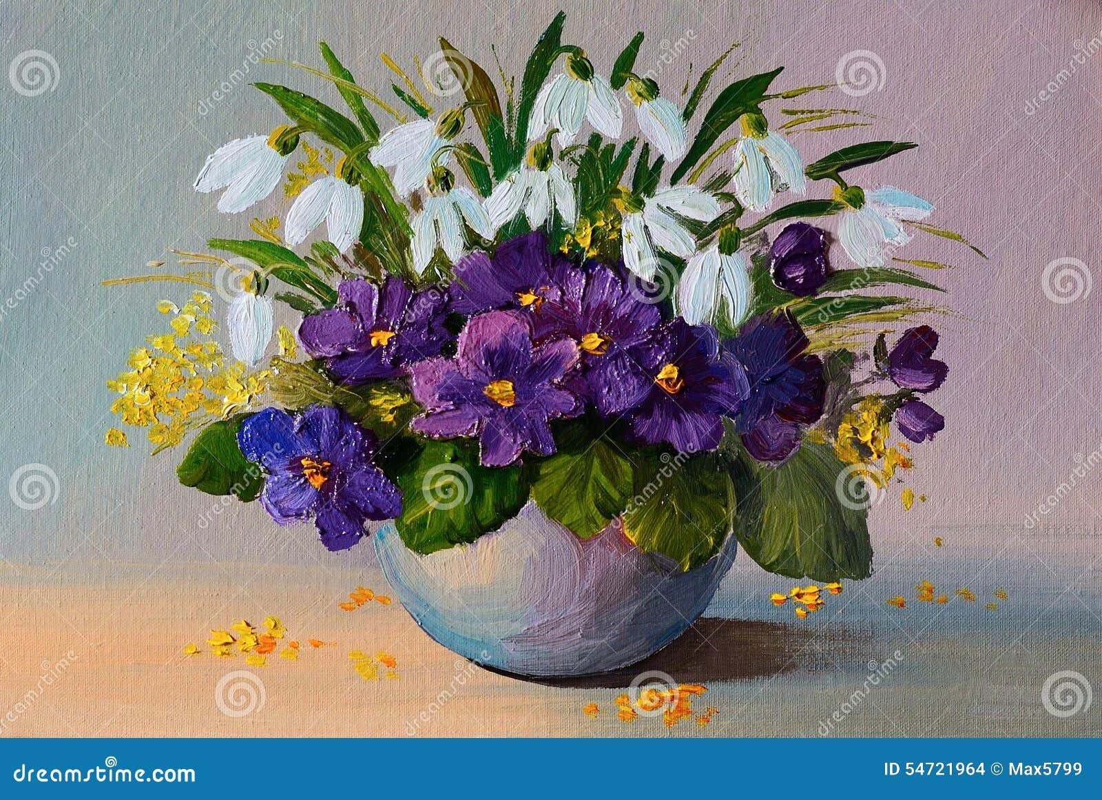 huilez les fleurs de peinture l 39 huile la vie toujours un bouquet des fleurs illustration. Black Bedroom Furniture Sets. Home Design Ideas