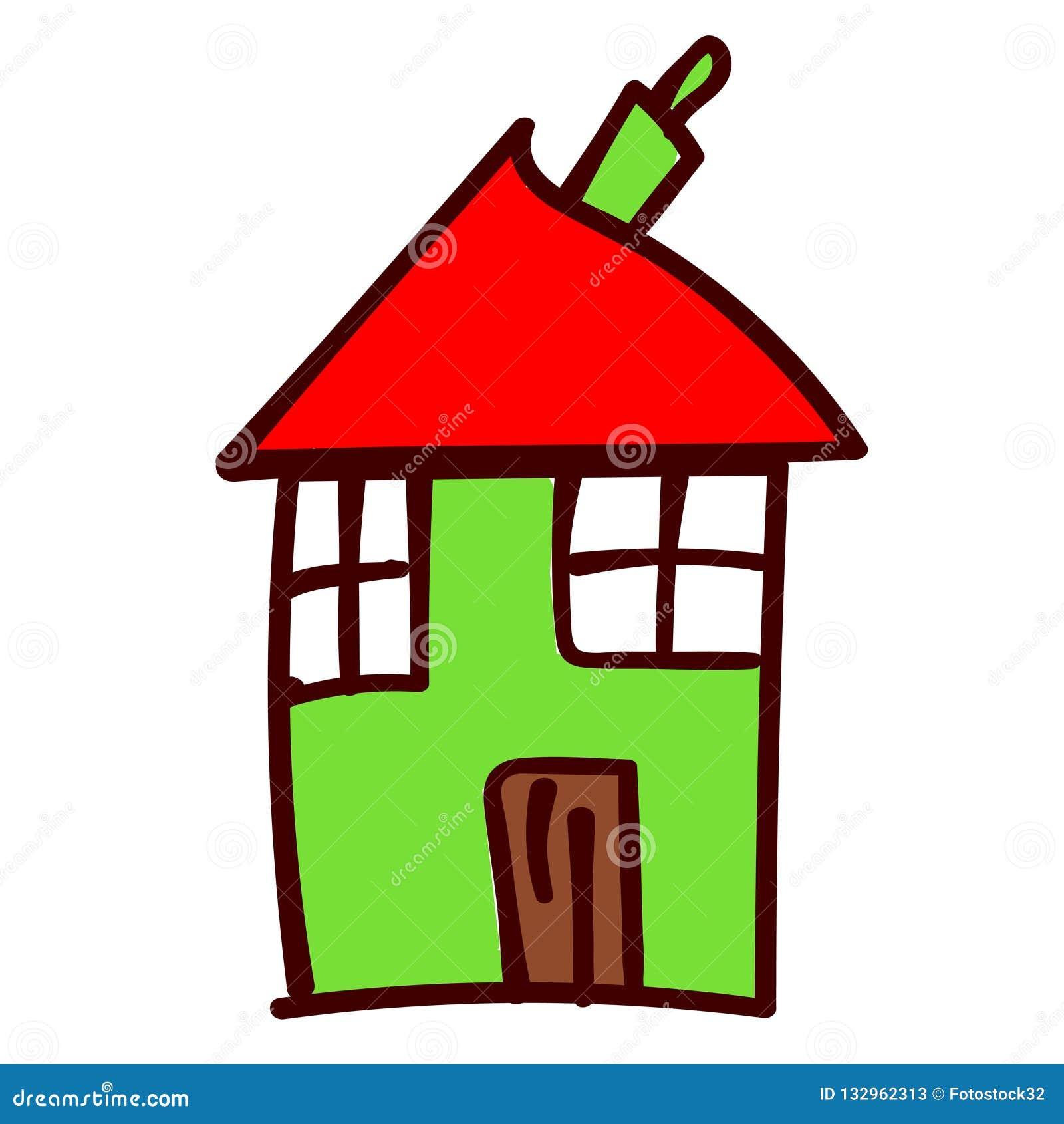 Huis in de stijl van de tekeningen van kinderen