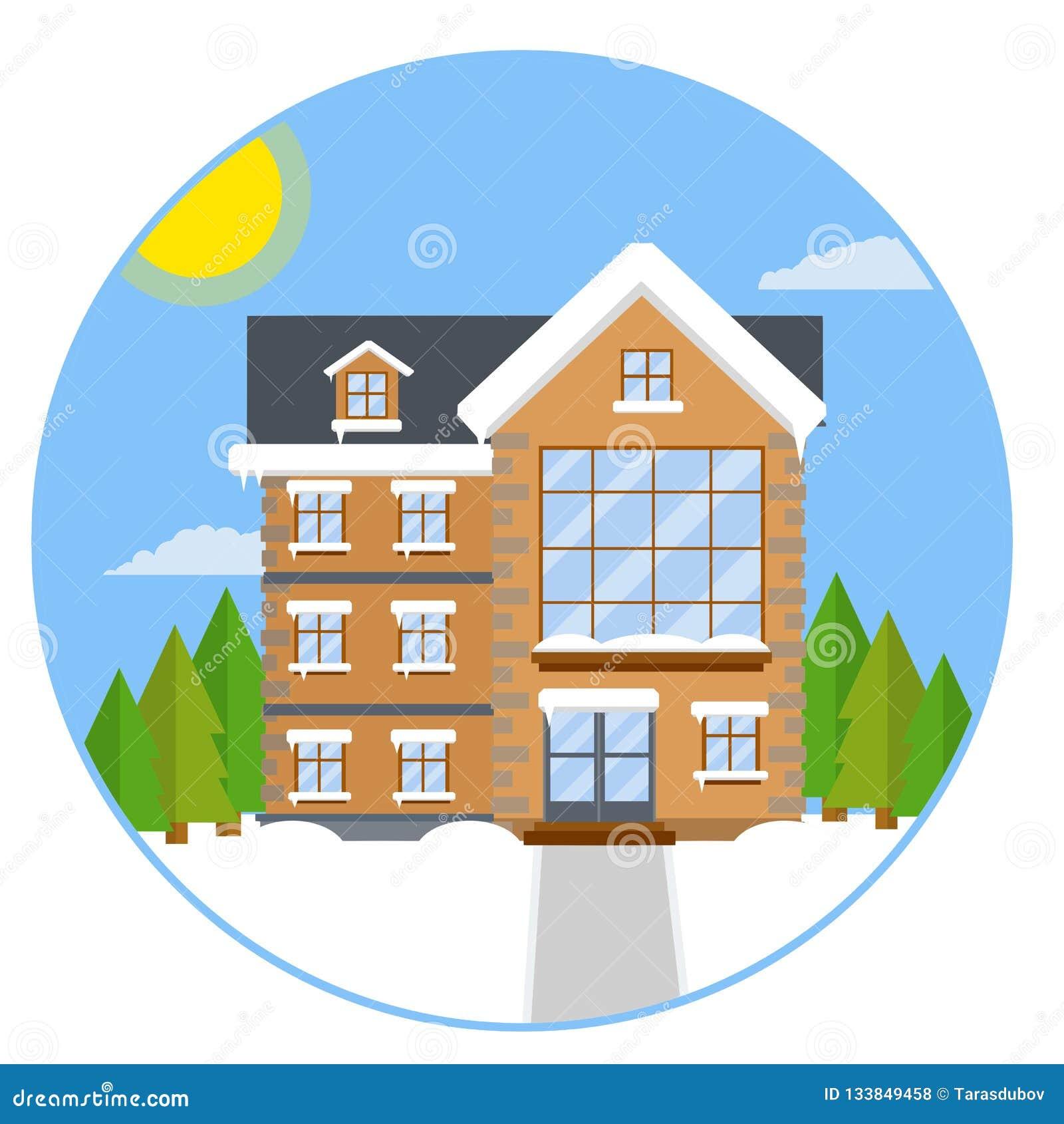 Huis in de voorsteden Beeldverhaal vlakke illustratie