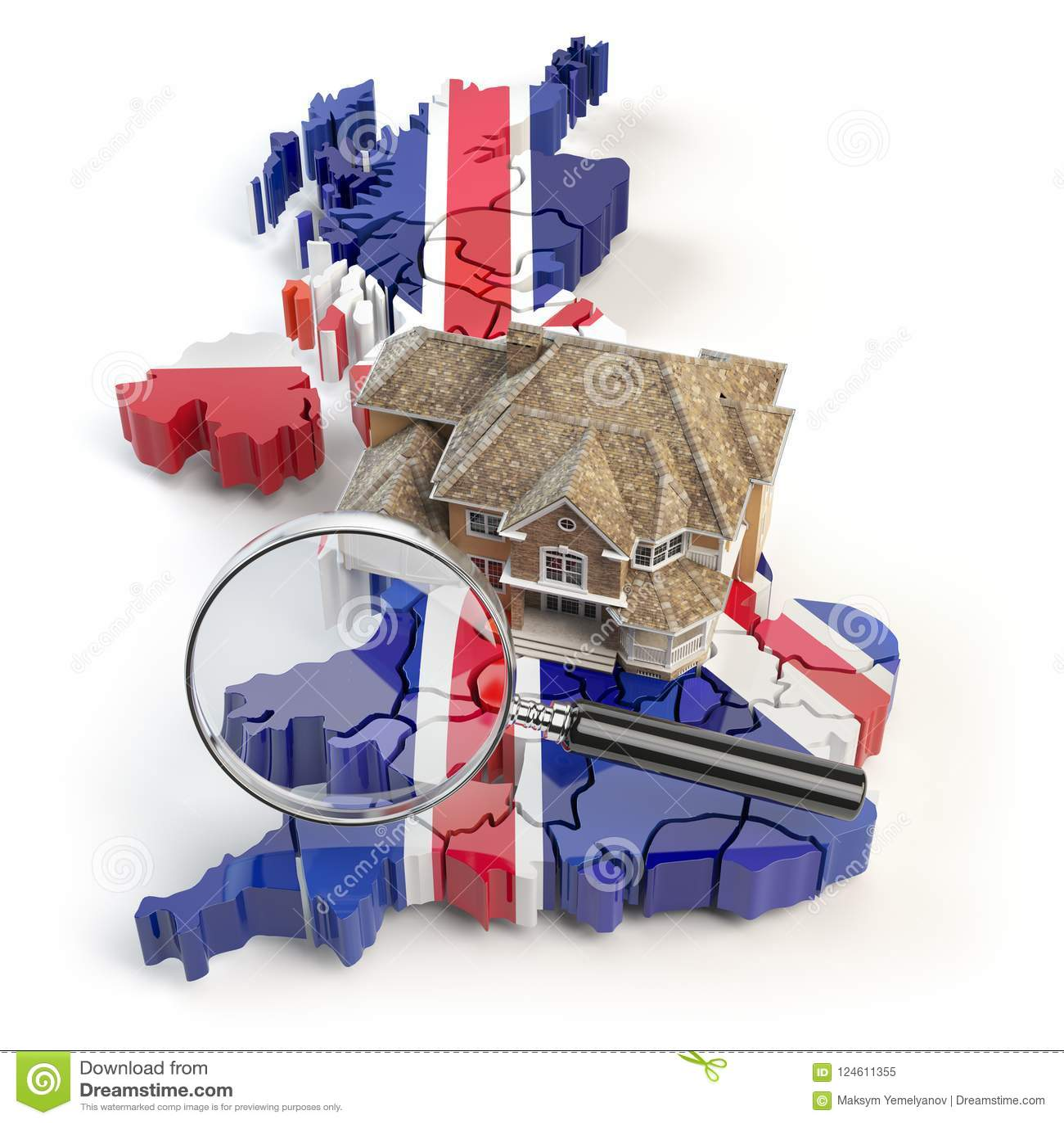 Huis en loupe op de kaart van het UK Groot-Brittannië in kleuren van aust