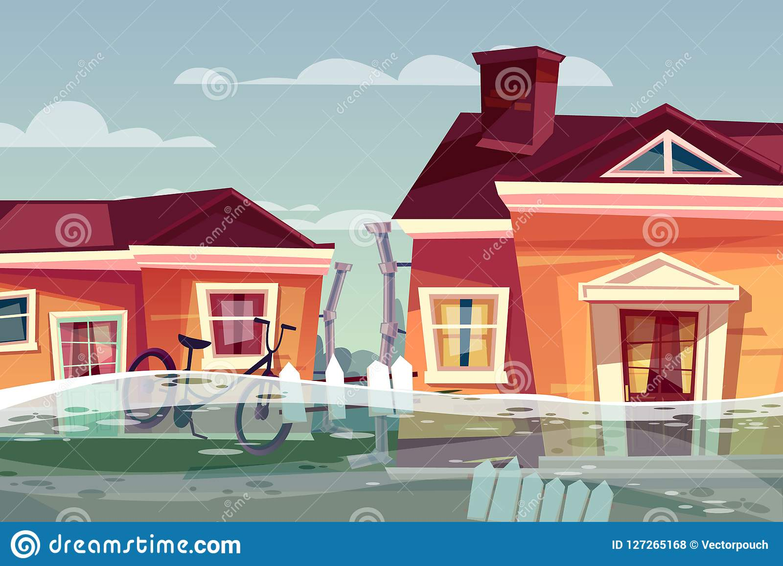 Huis in het waterstroom van de vloed vectorstortvloed in straat