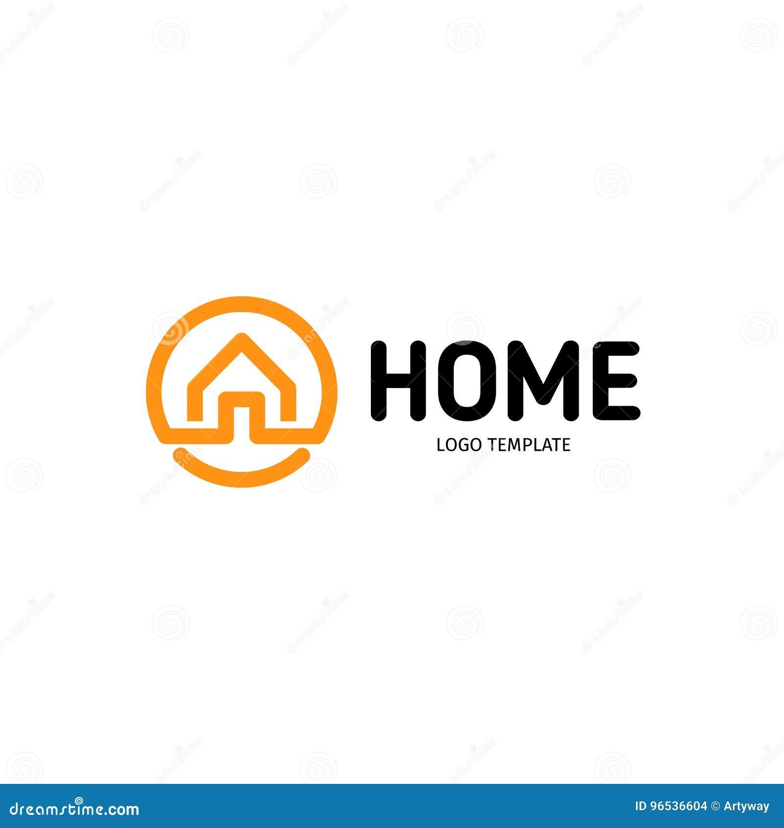 Huis lineair vectorembleem Slimme de kunst oranje en zwarte logotype van de huislijn Het pictogram van overzichtsonroerende goede