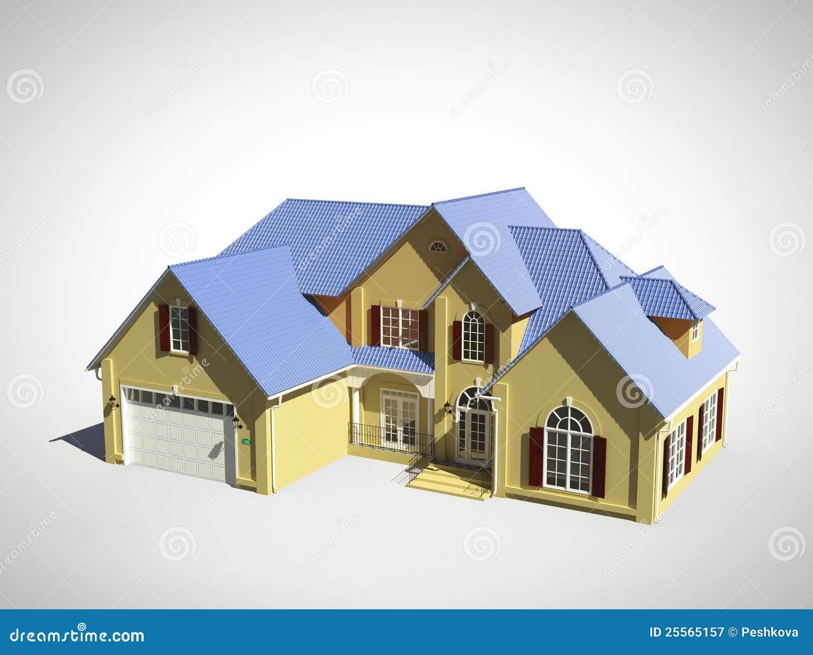 Huis met blauw dak royalty vrije stock fotografie afbeelding 25565157 - Groen huis model ...