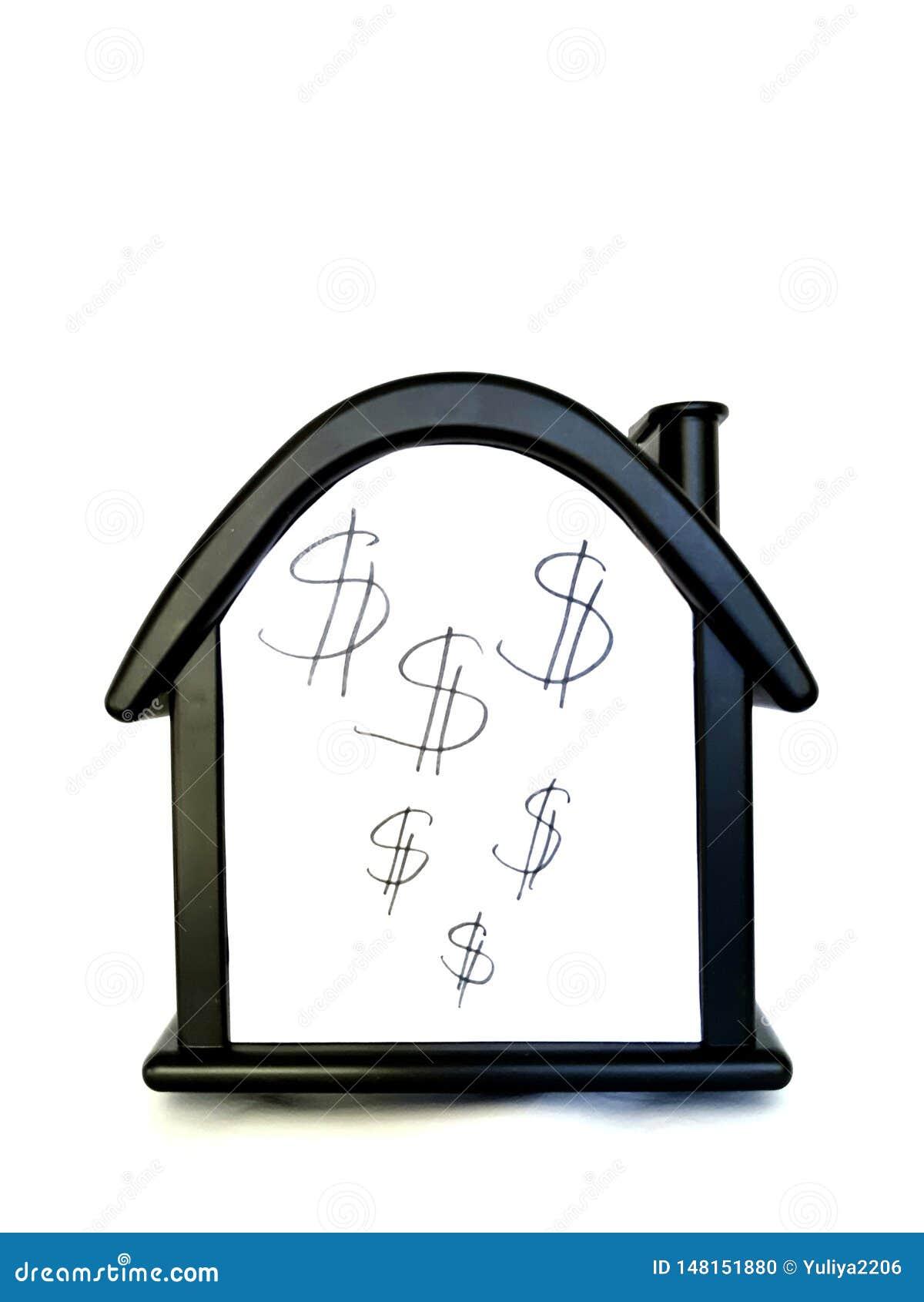 Huis met een dollarteken Verkoop van onbeweeglijkheid, huis