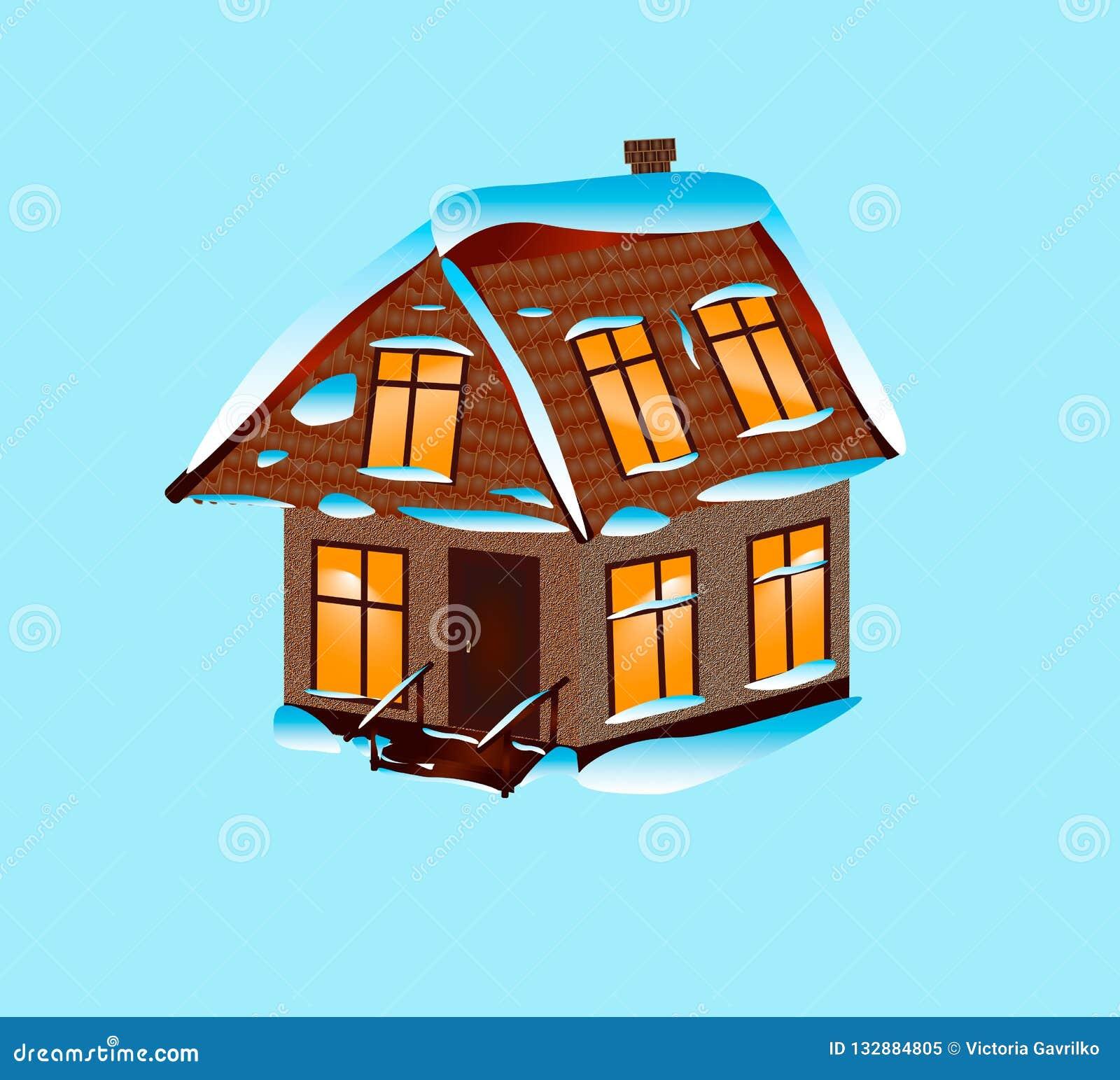 Huis met sneeuw op een blauwe achtergrond wordt behandeld die