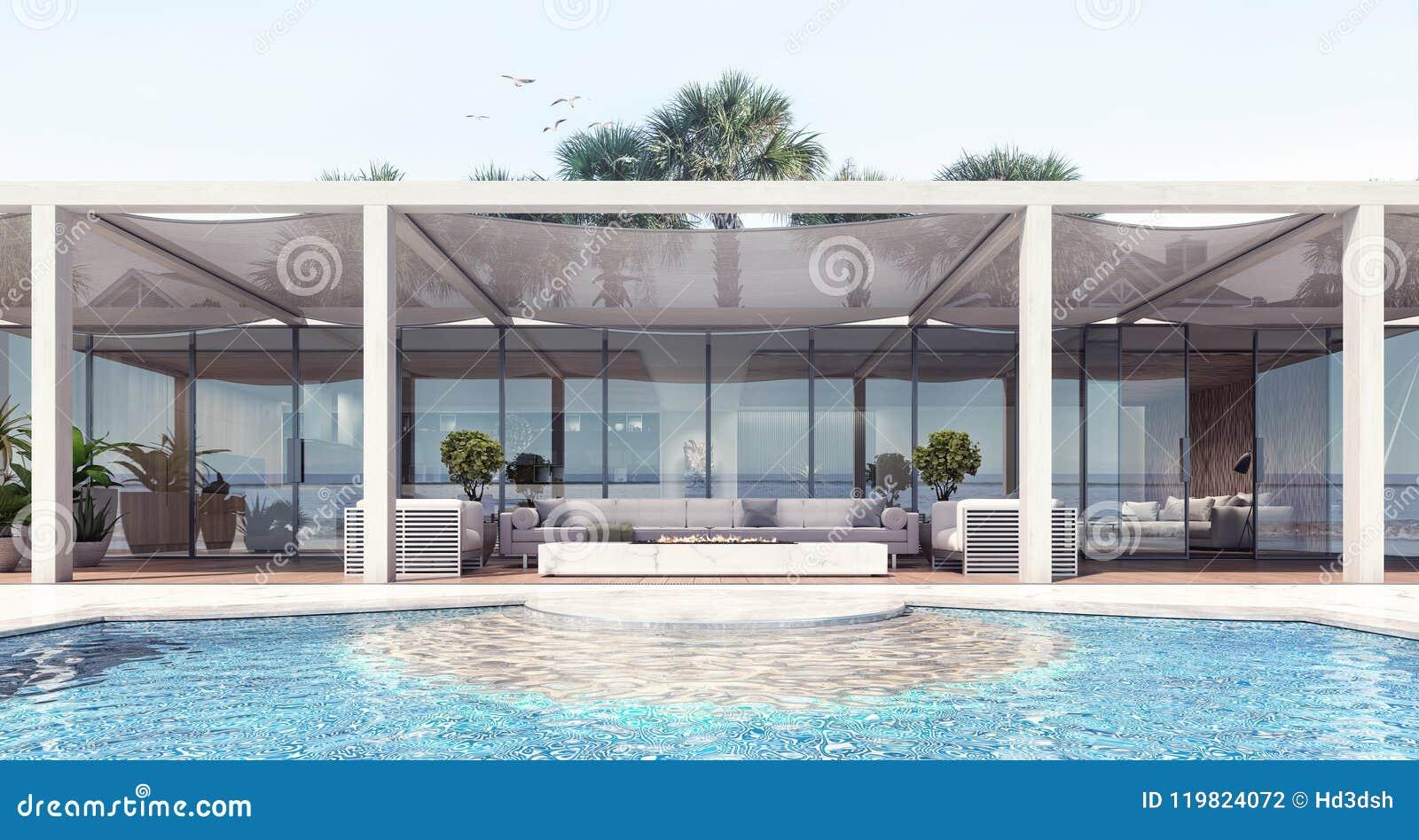 Huis moderne buitenkant en terras met pergola stock illustratie