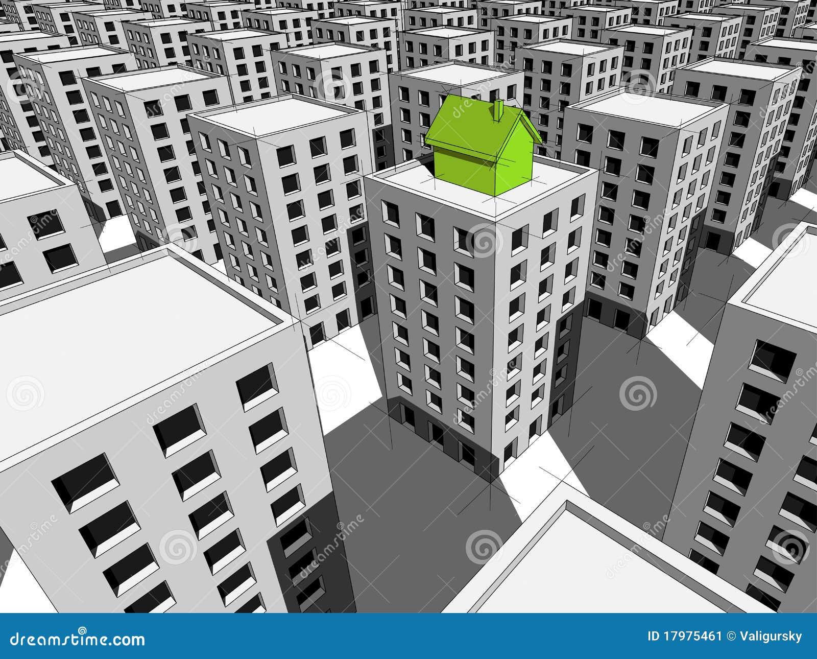Huis op de bovenkant van flatgebouw stock afbeelding for Huis inrichten op schaal
