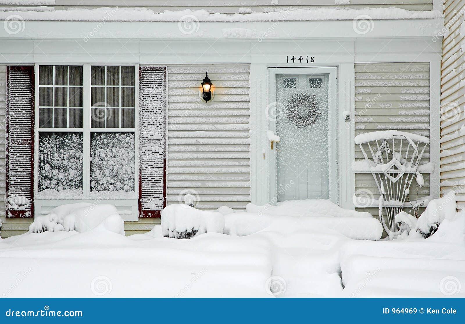 Huis tijdens Grote Sneeuwstorm