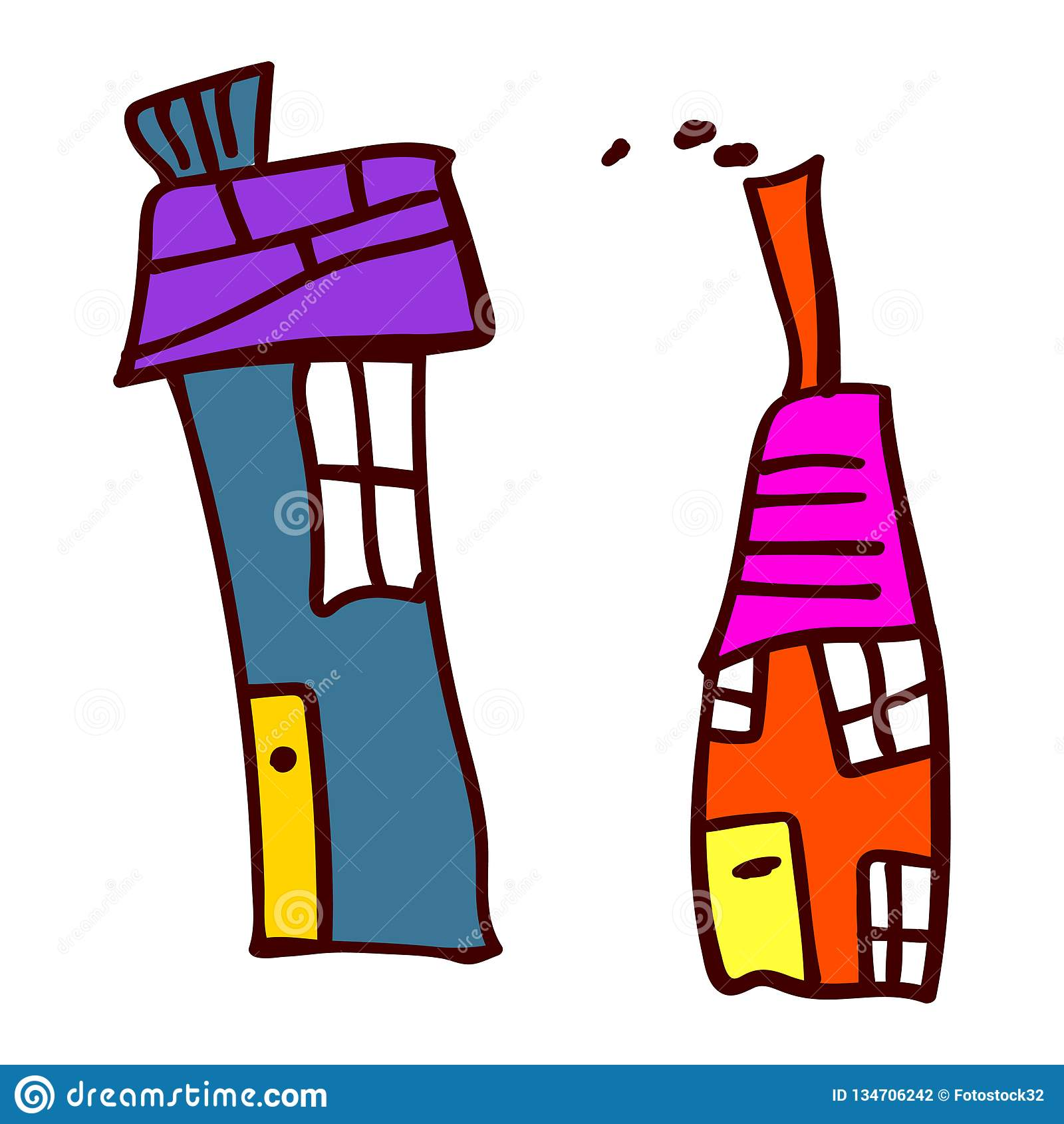Huis twee in de stijl van de tekeningen van kinderen
