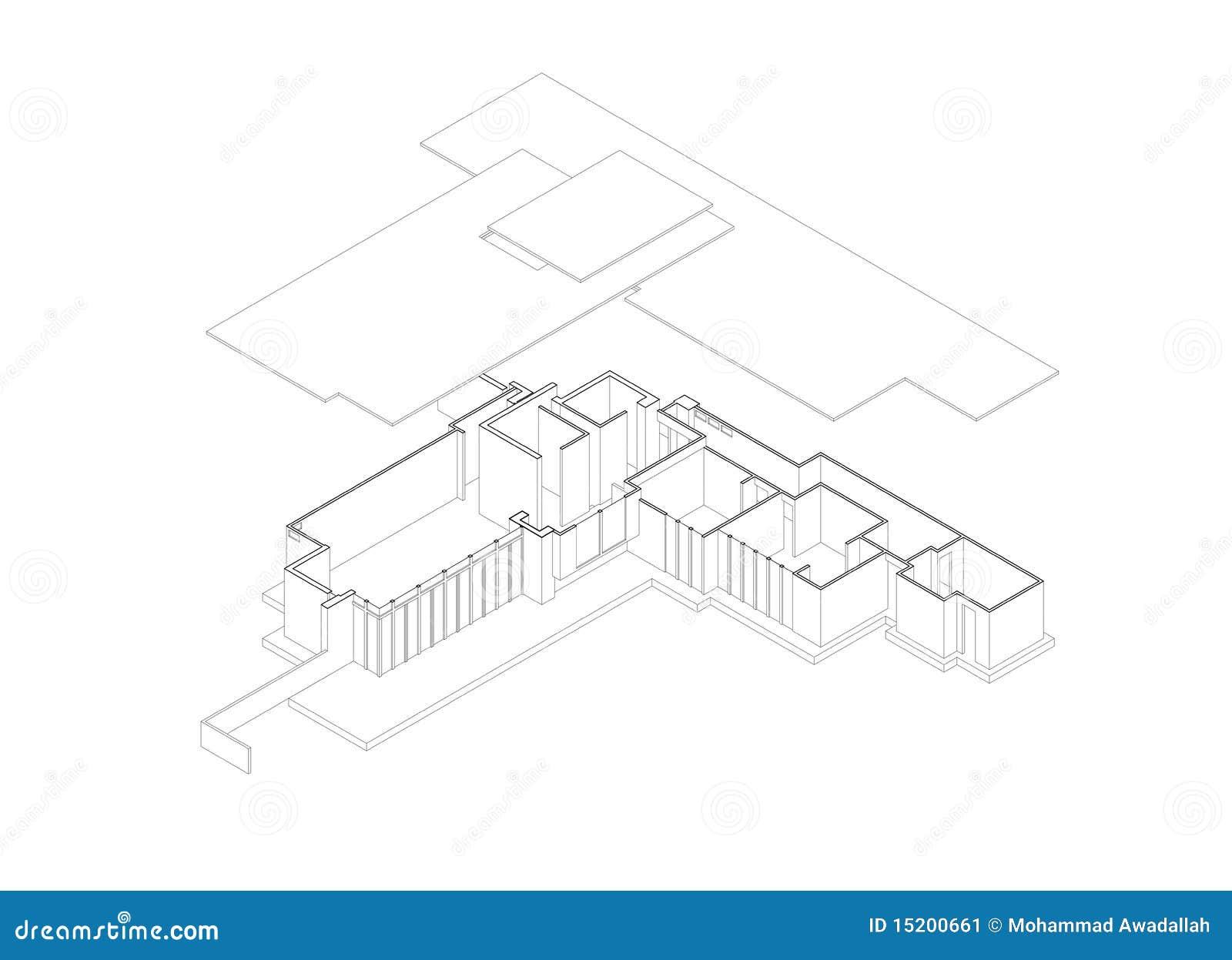 Huis Van Jacobs Explodeerde Isometrische Tekening Vector