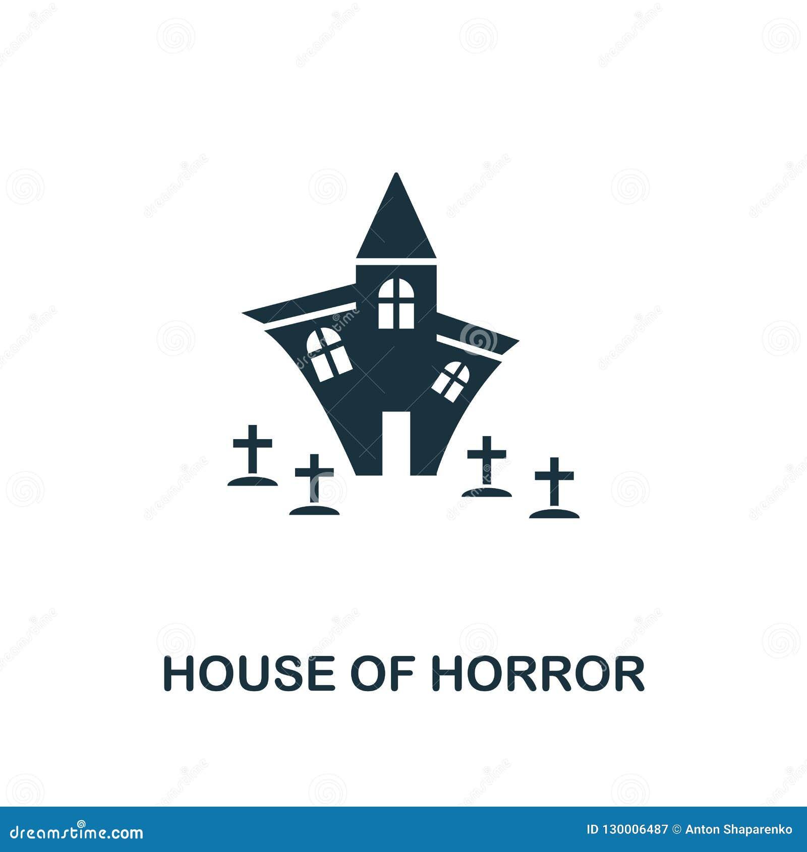 Huis van Verschrikkingspictogram Het ontwerp van de premiestijl van Halloween-pictograminzameling UI en UX Pixel perfect huis van