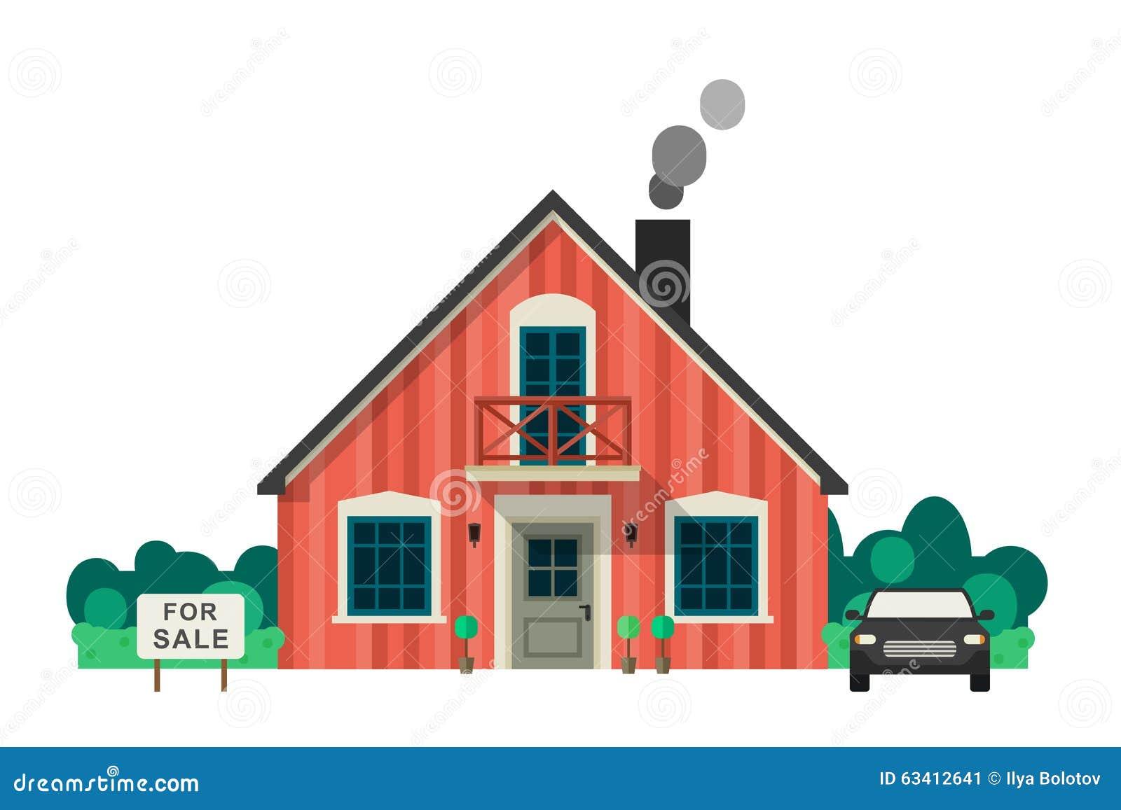 Huis voor verkoop vector illustratie illustratie for Huis aantrekkelijk maken voor verkoop