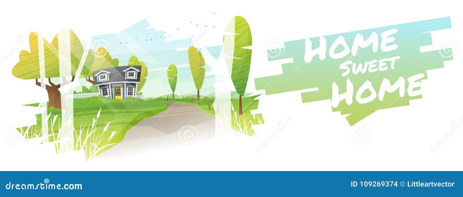 Huis Zoet Huis, Mooi landelijk landschap en een plattelandshuisjeachtergrond