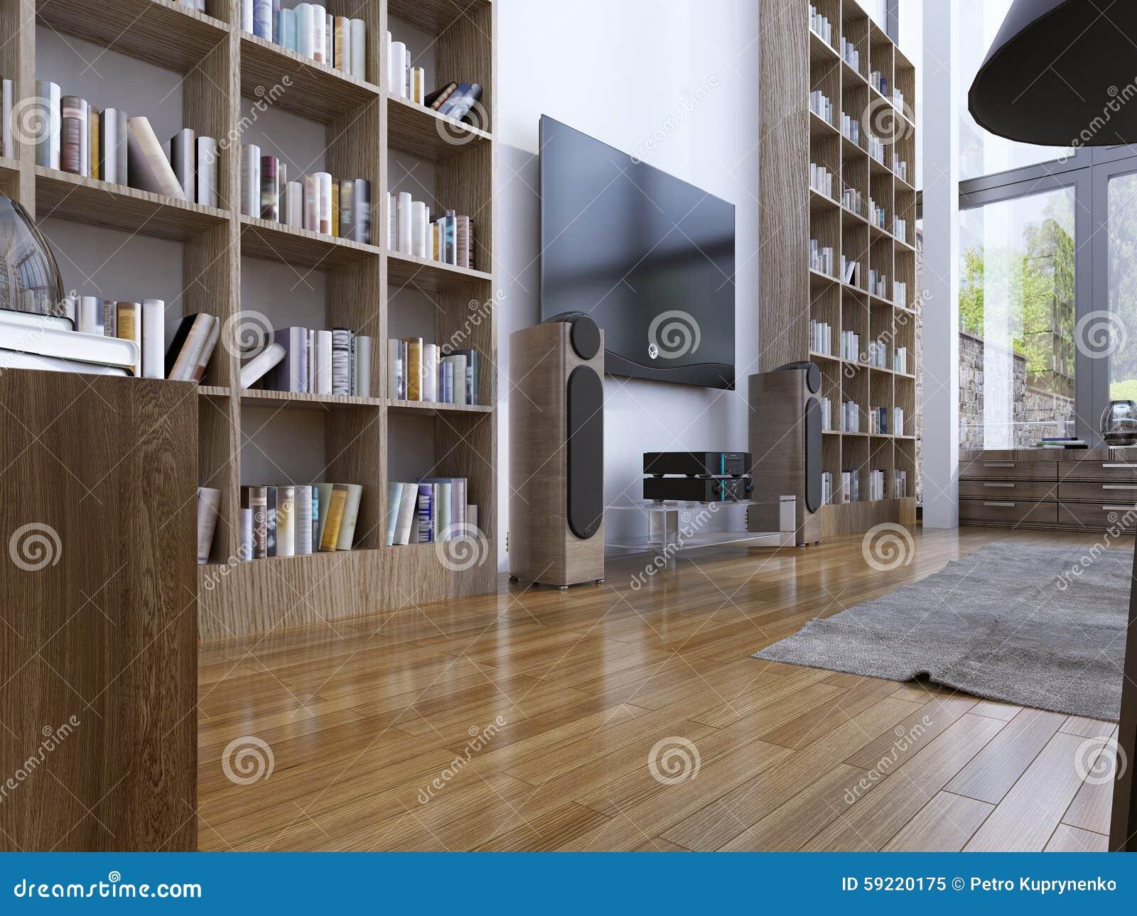 Huisbibliotheek in moderne stijl