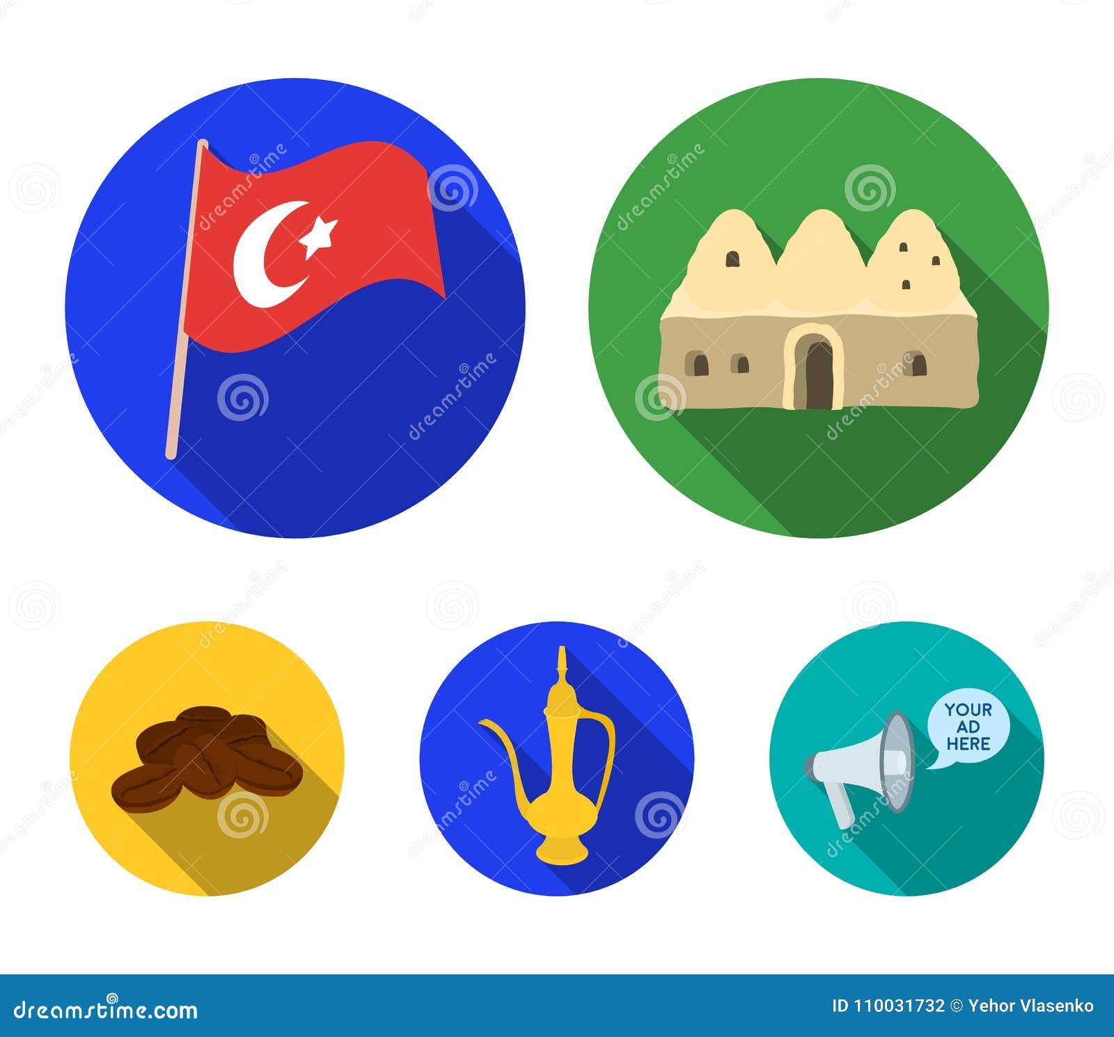 Huisbijenkorf, nationale vlag, het koper van de koffiepot, korrelskoffie Vastgestelde de inzamelingspictogrammen van Turkije in v