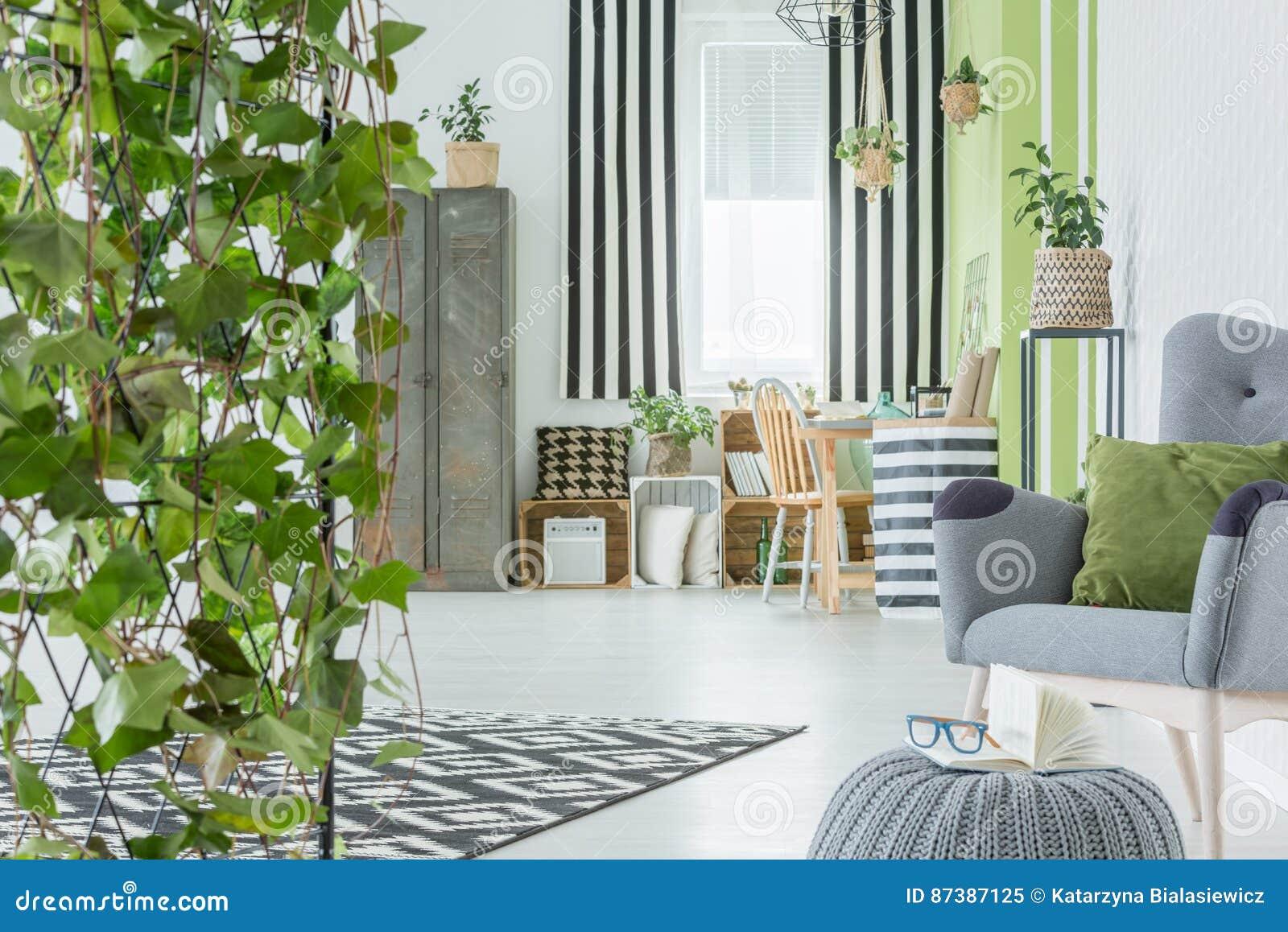 Huisbinnenland met decoratieve klimop stock afbeelding